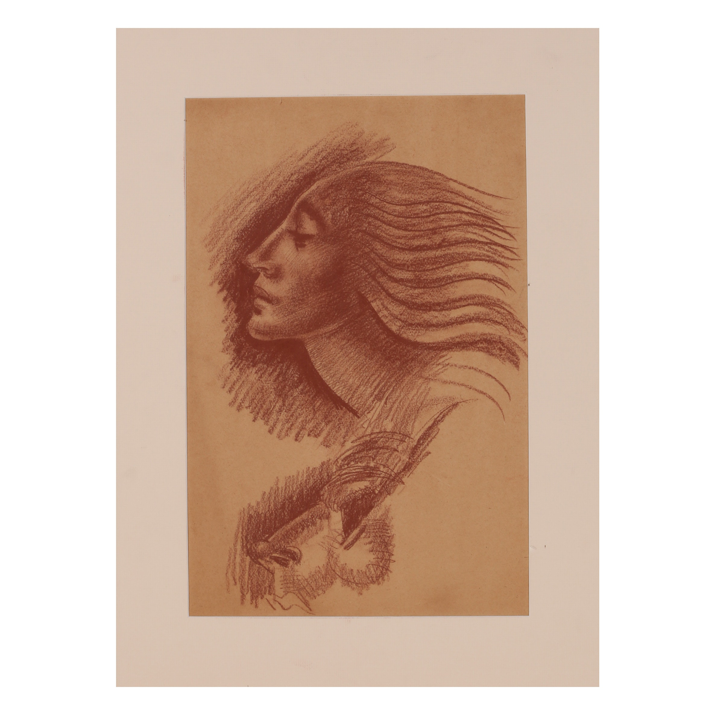 "Robert Whitmore Conté Crayon Drawing ""Flowing Hair"""