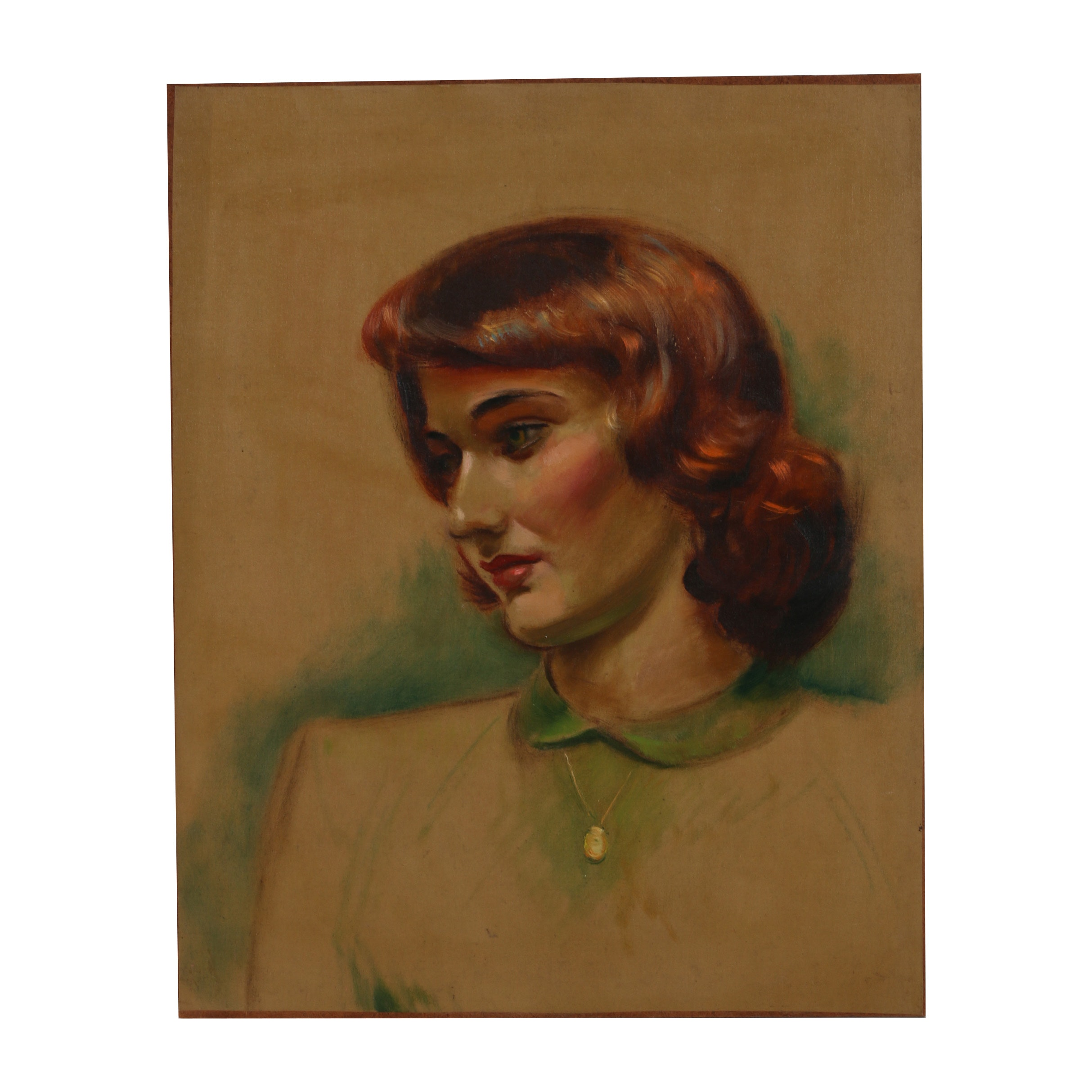 "Robert Whitmore Oil Painting ""Red Head Female"""