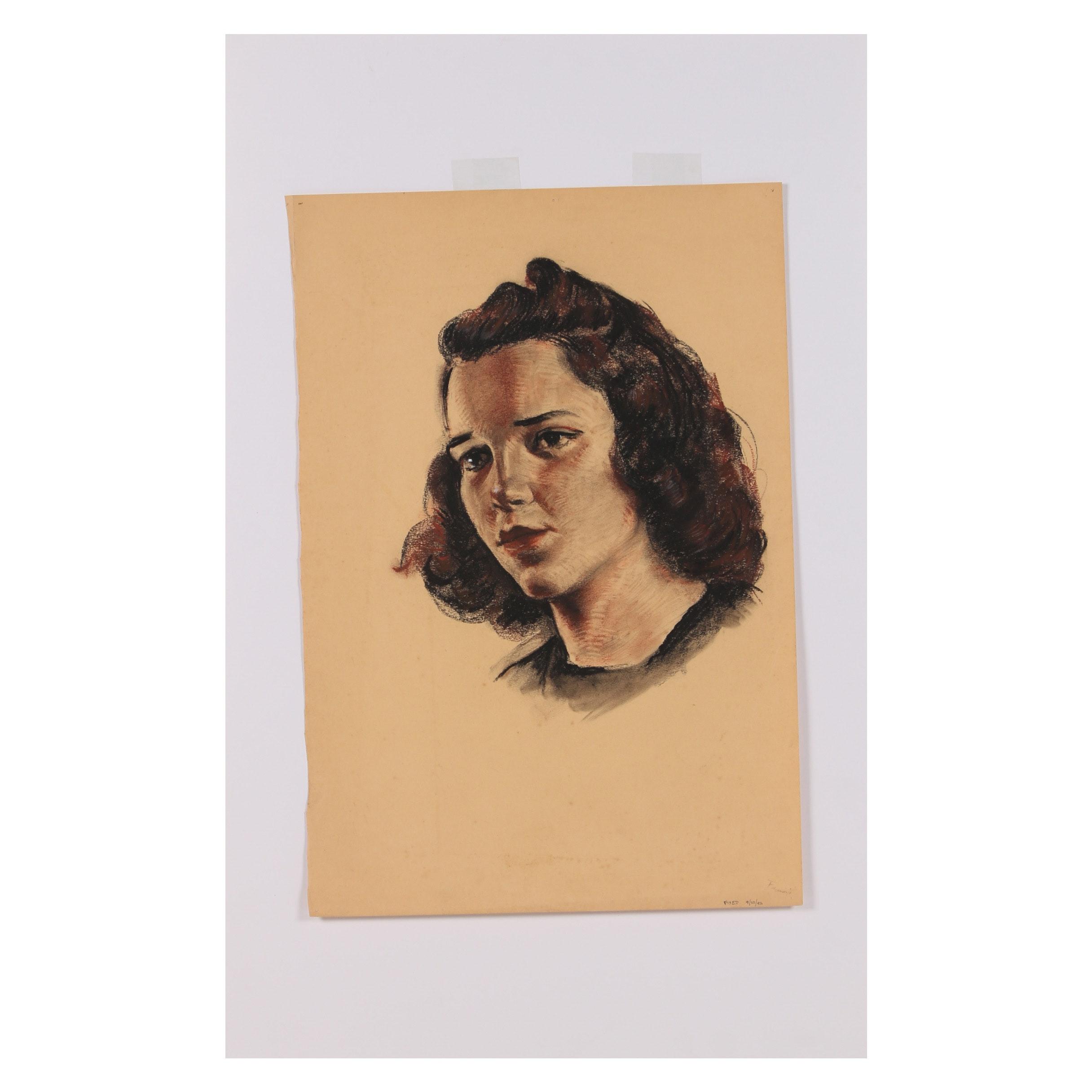 "Robert Whitmore Pastel Drawing ""Pensive Mood"""