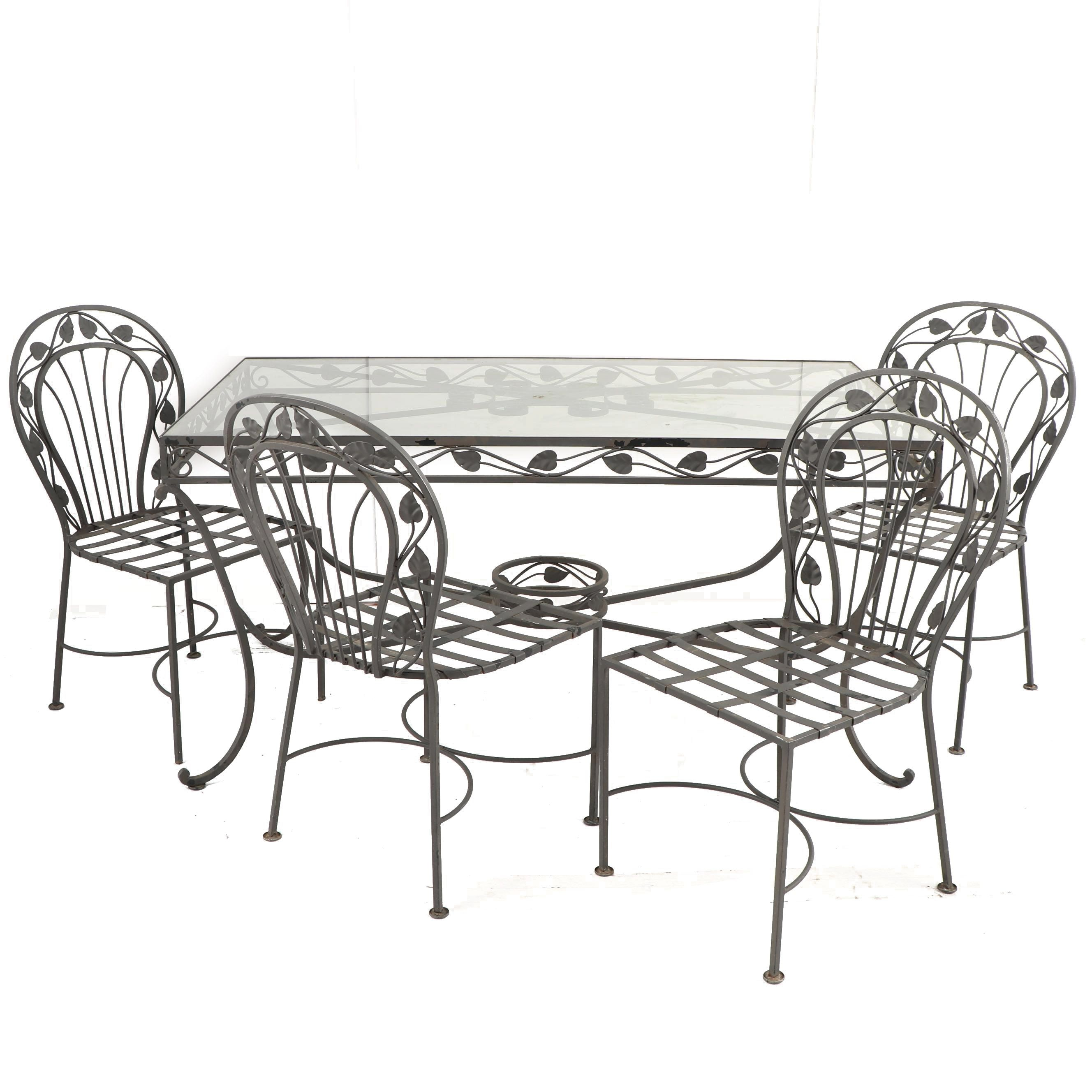 Oldcastle Glass Top Metal Patio Table with Chairs