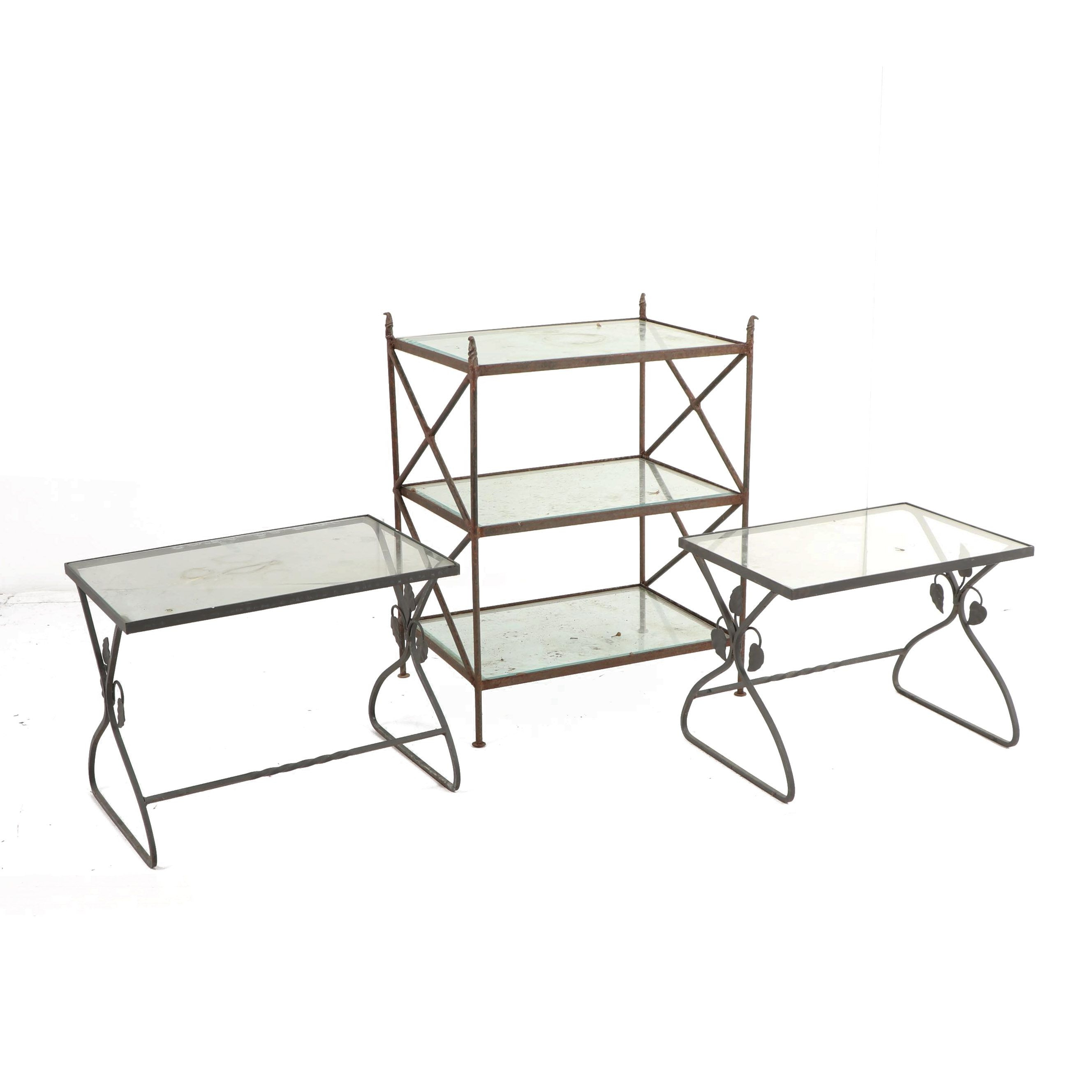 Metal and Glass Patio Tables and Etagère