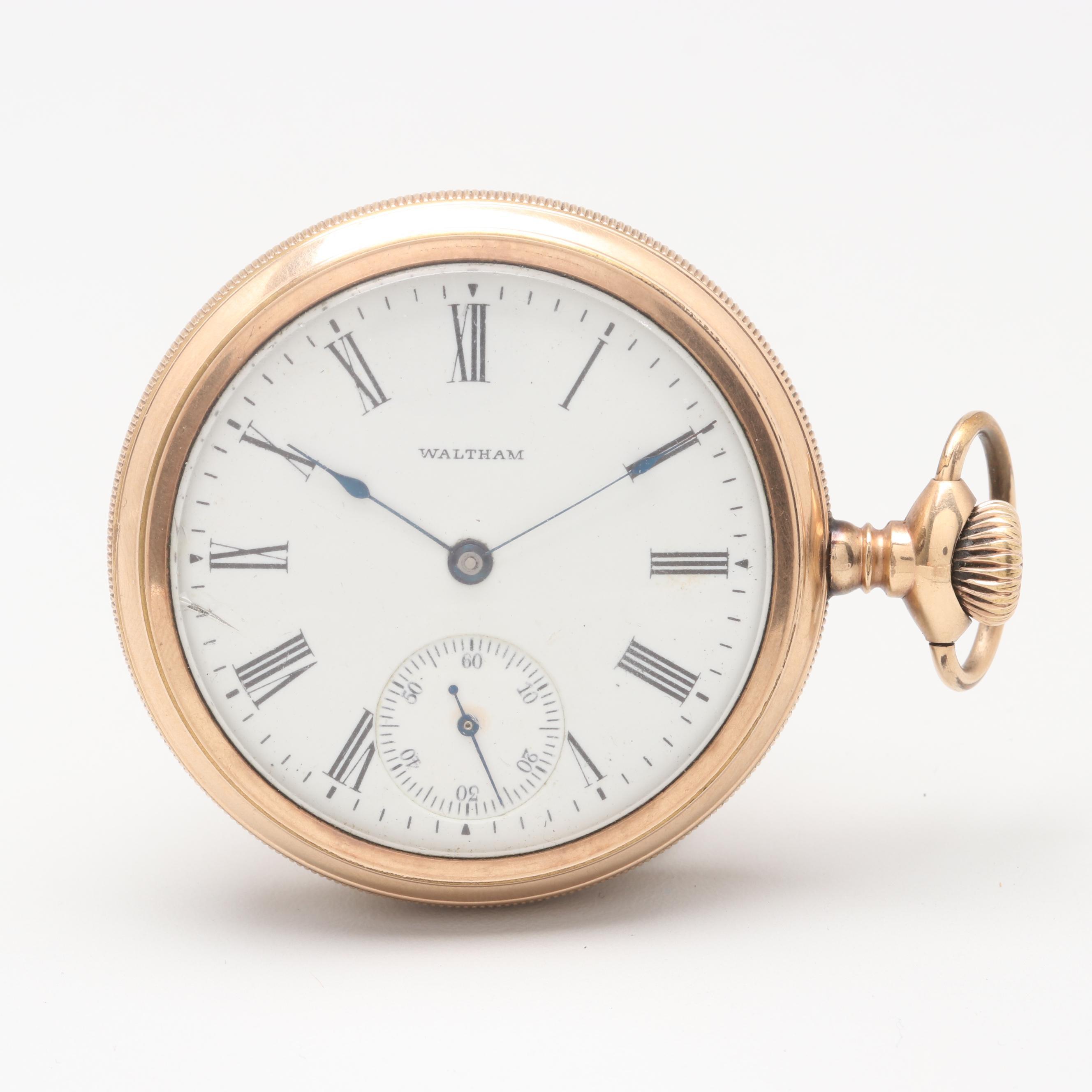 Circa 1902 Waltham Gold Filled Sidewinder Pocket Watch