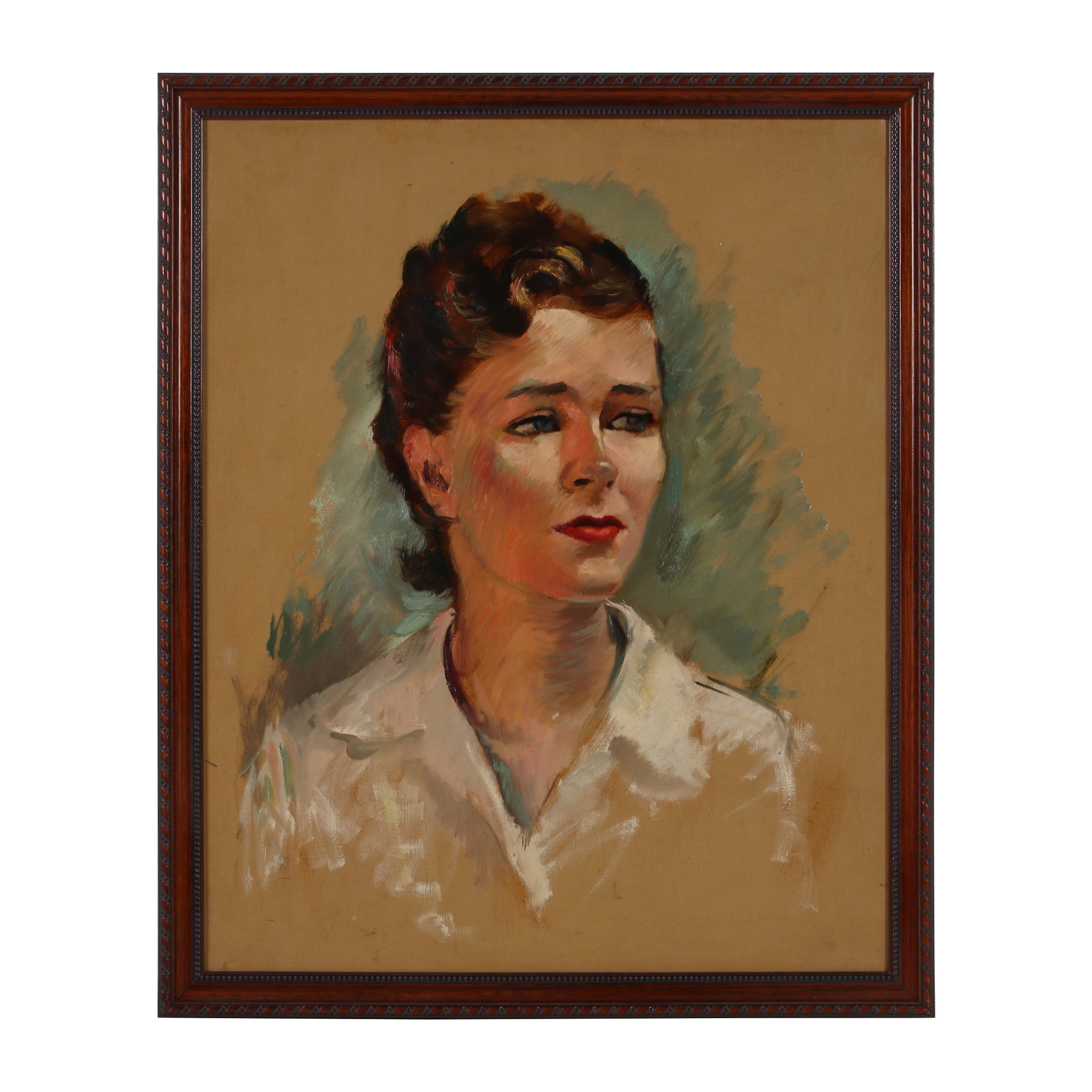 "Robert Whitmore Oil Painting ""Female Portrait (Antioch College Study)"""