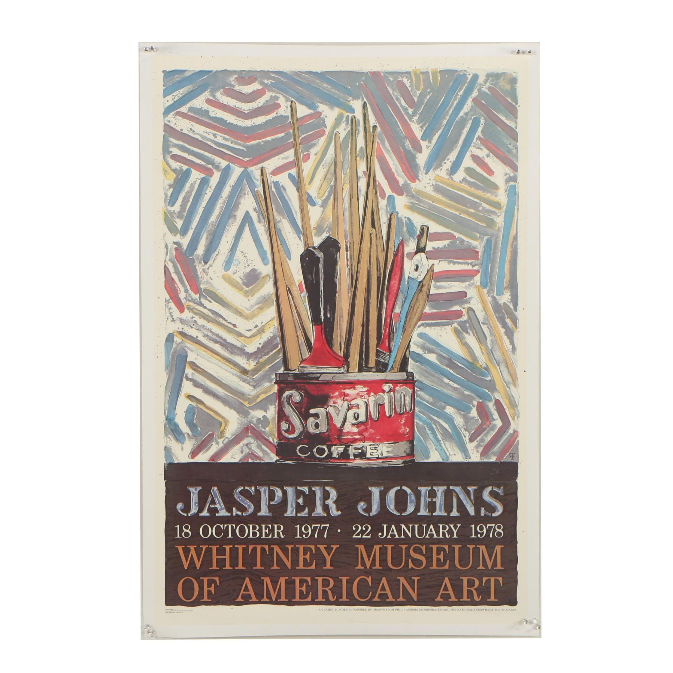"1977-78 Whitney Museum Exhibition Poster after Jasper Johns ""Savarin"""