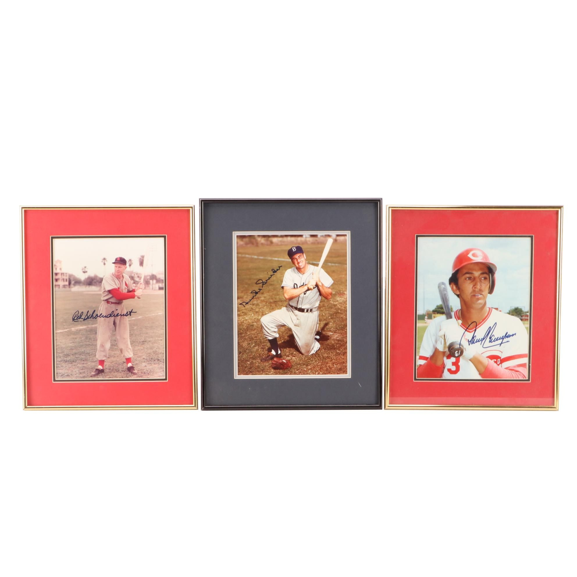Concepcion, Snider, and Schoendienst Signed Framed Baseball Photo Prints