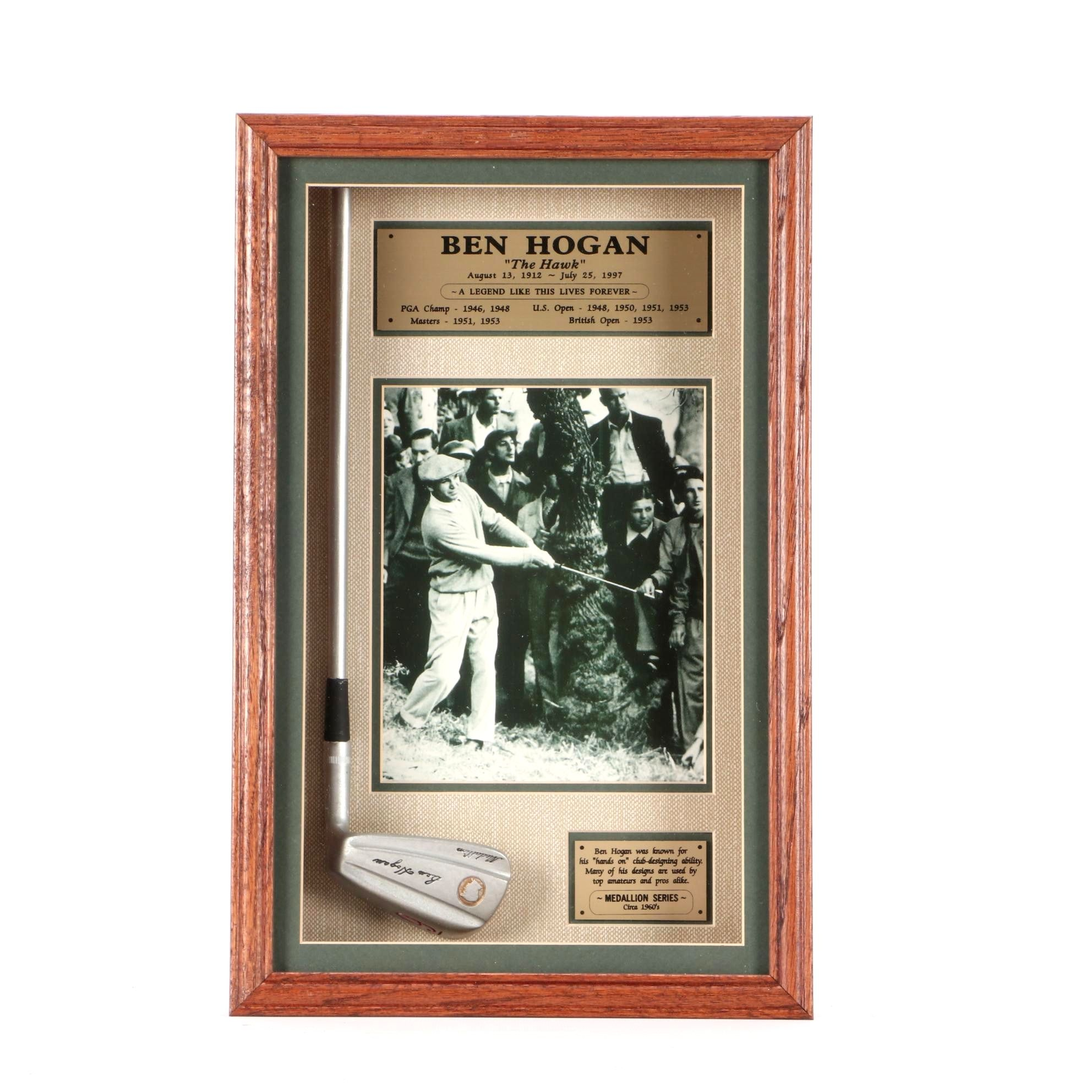 "PGA Hall of Fame Player Ben Hogan ""The Hawk"" Golf Display Shadow Box"