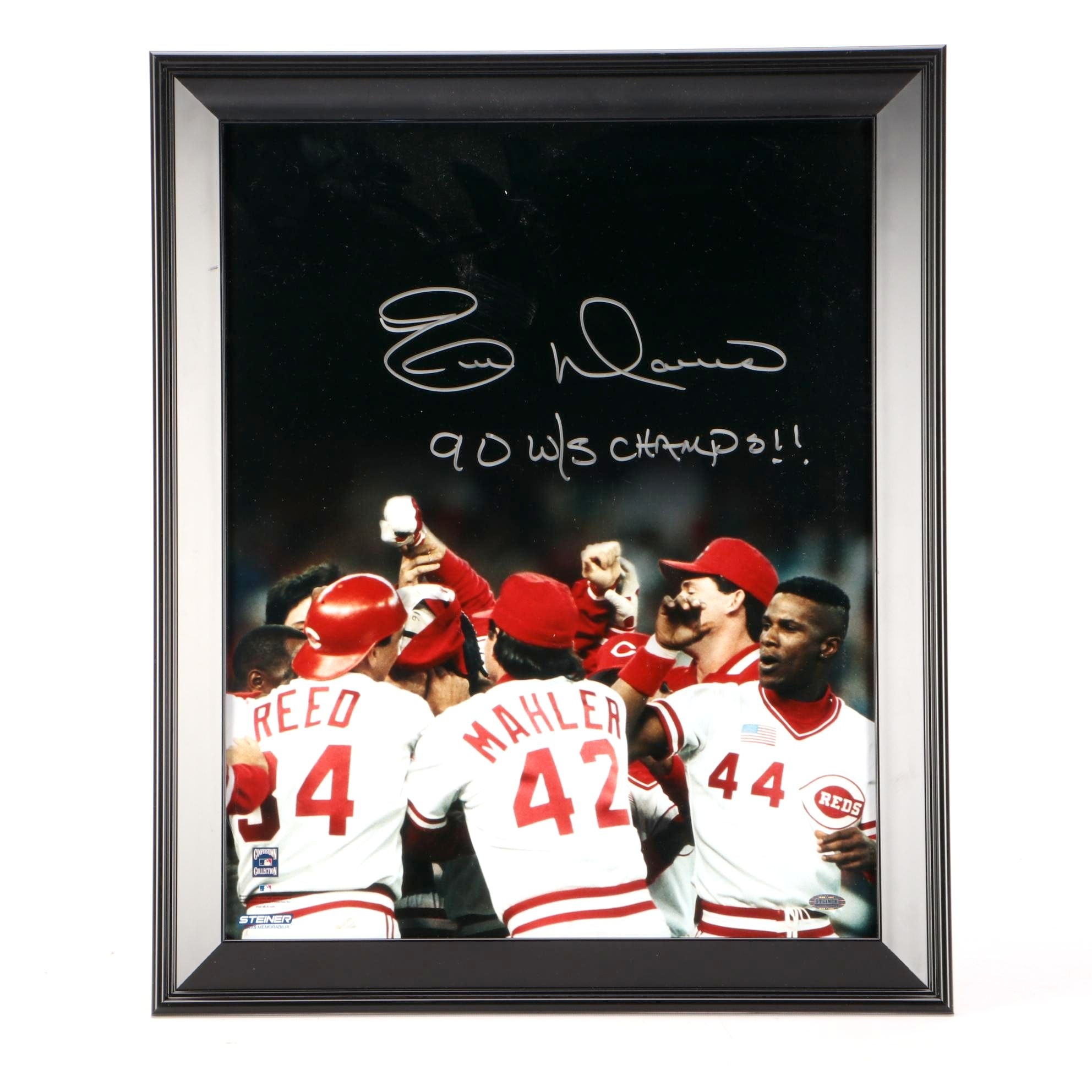 Signed Eric Davis 1990 Cincinnati Reds World Champs Framed Baseball Display