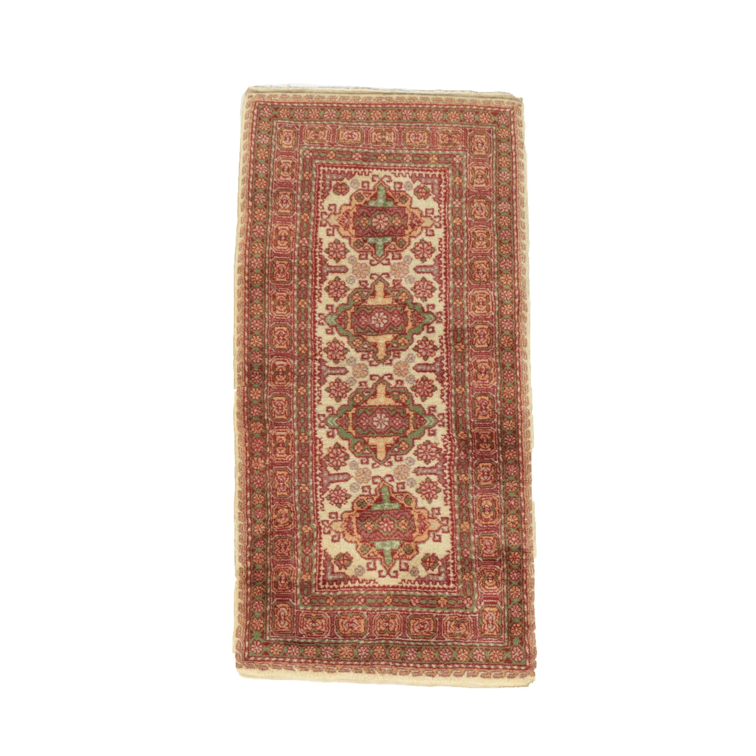 Hand-Knotted Indo-Persian Wool Accent Rug
