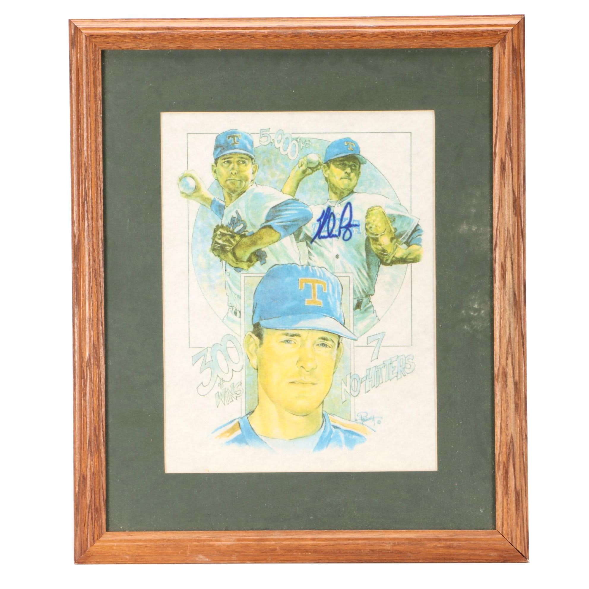 (HOF) Nolan Ryan Signed Texas Rangers Matted and Framed Baseball Lithograph