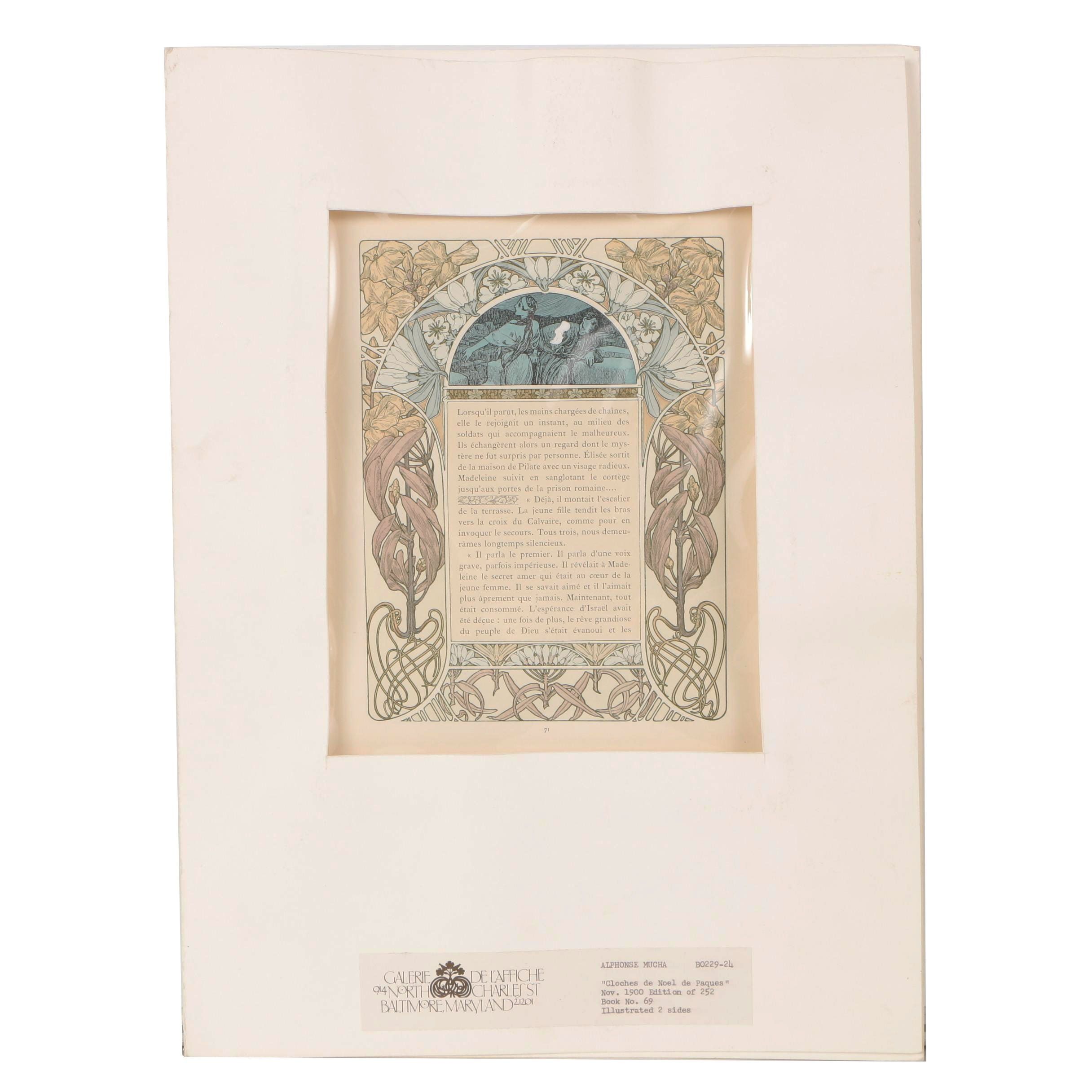 "Antique Lithograph After Alphonse Mucha from ""Cloches de Noël et de Pâques"""