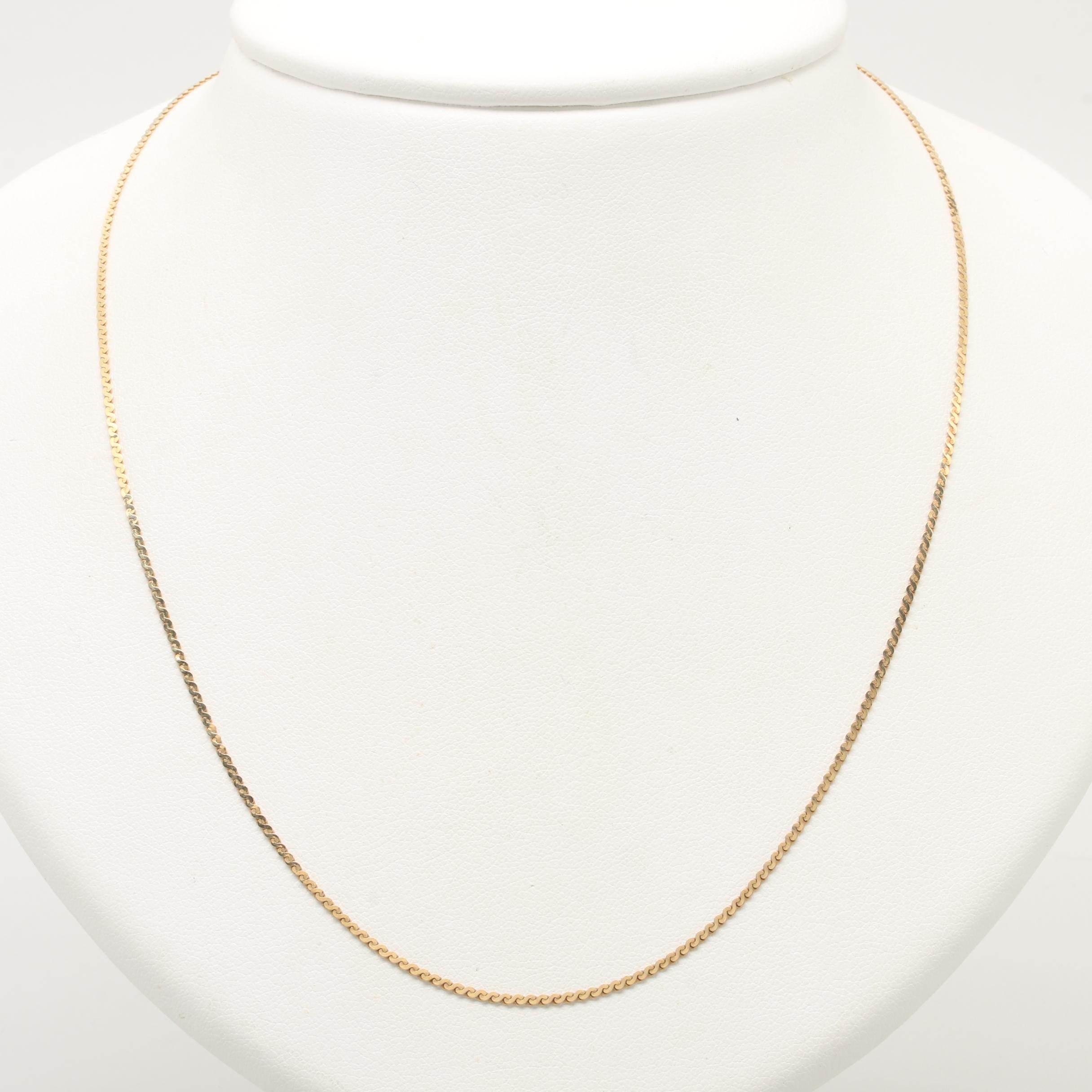 Italian 14K Yellow Gold Serpentine Chain Necklace
