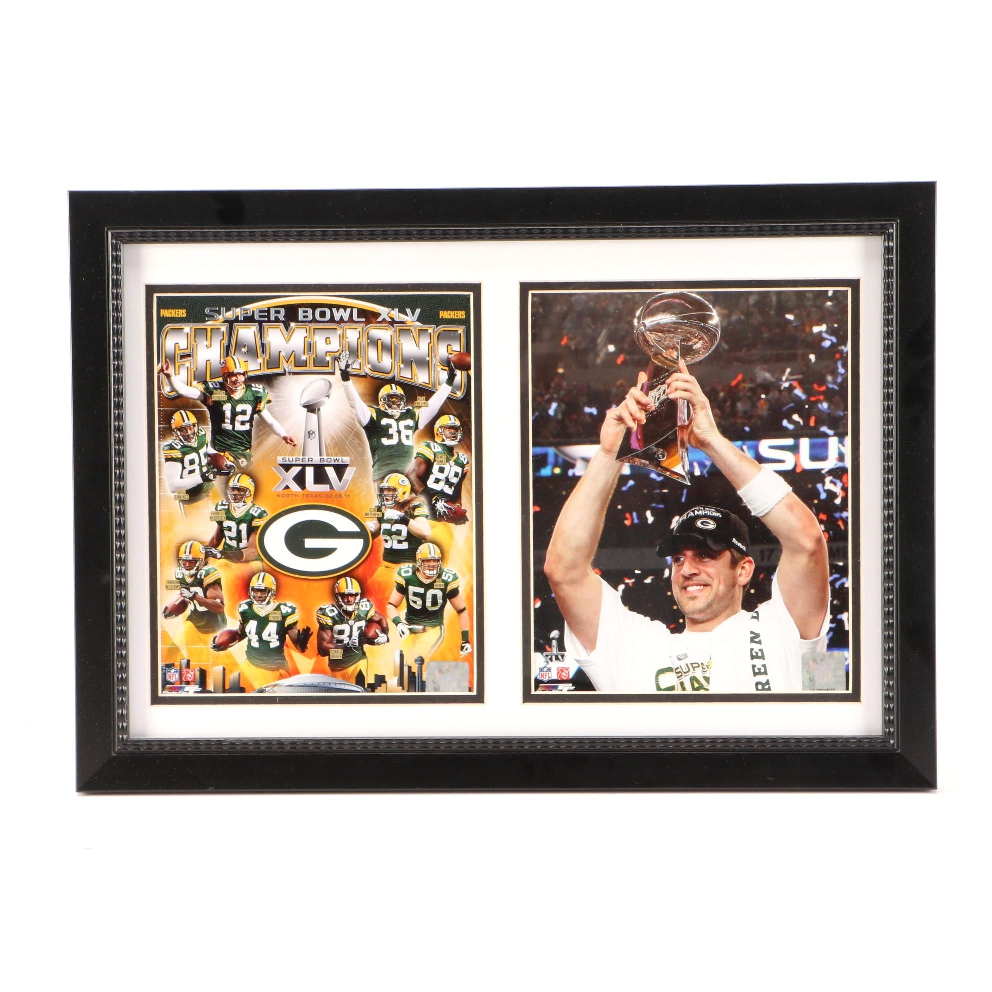 Super Bowl XLV Champs Green Bay Packers Matted and Framed NFL Football Display