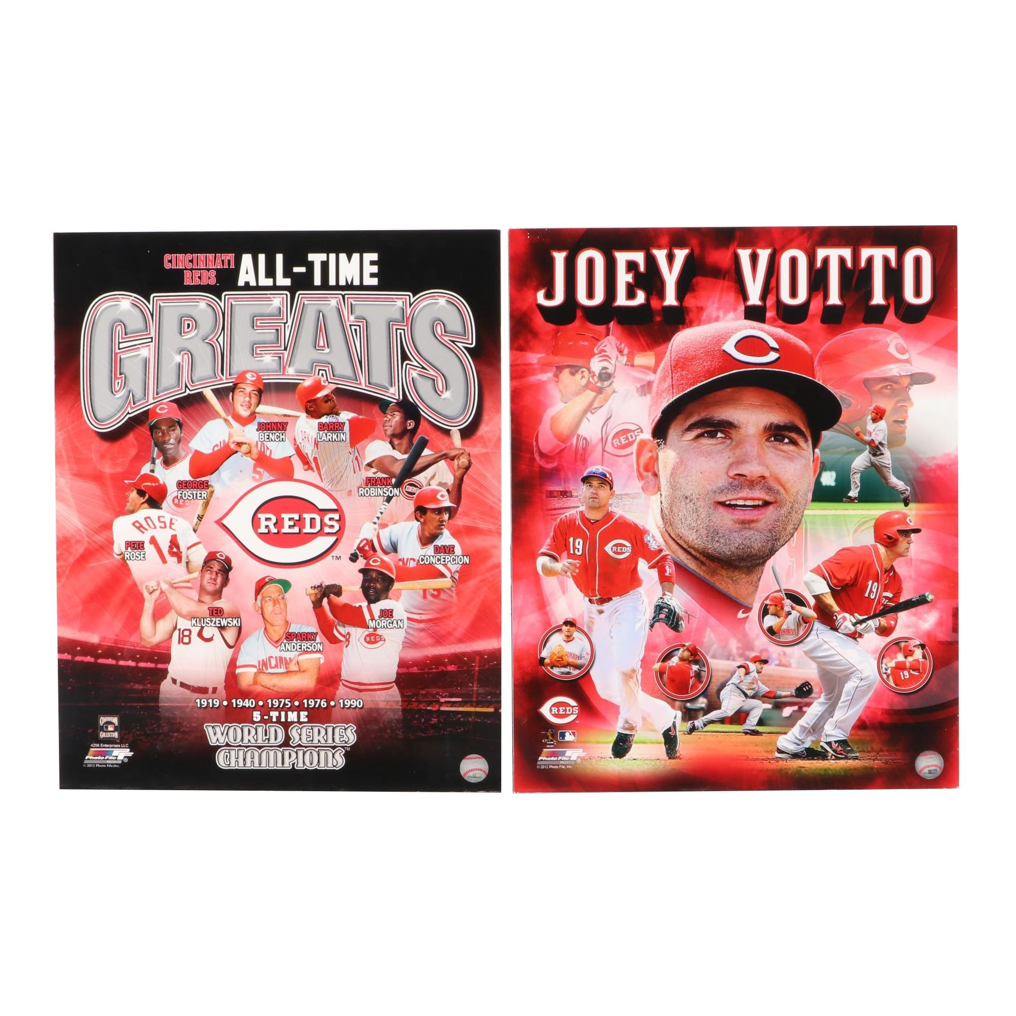 Two Cincinnati Reds, Joey Votto and All-Time Greats Wall Displays