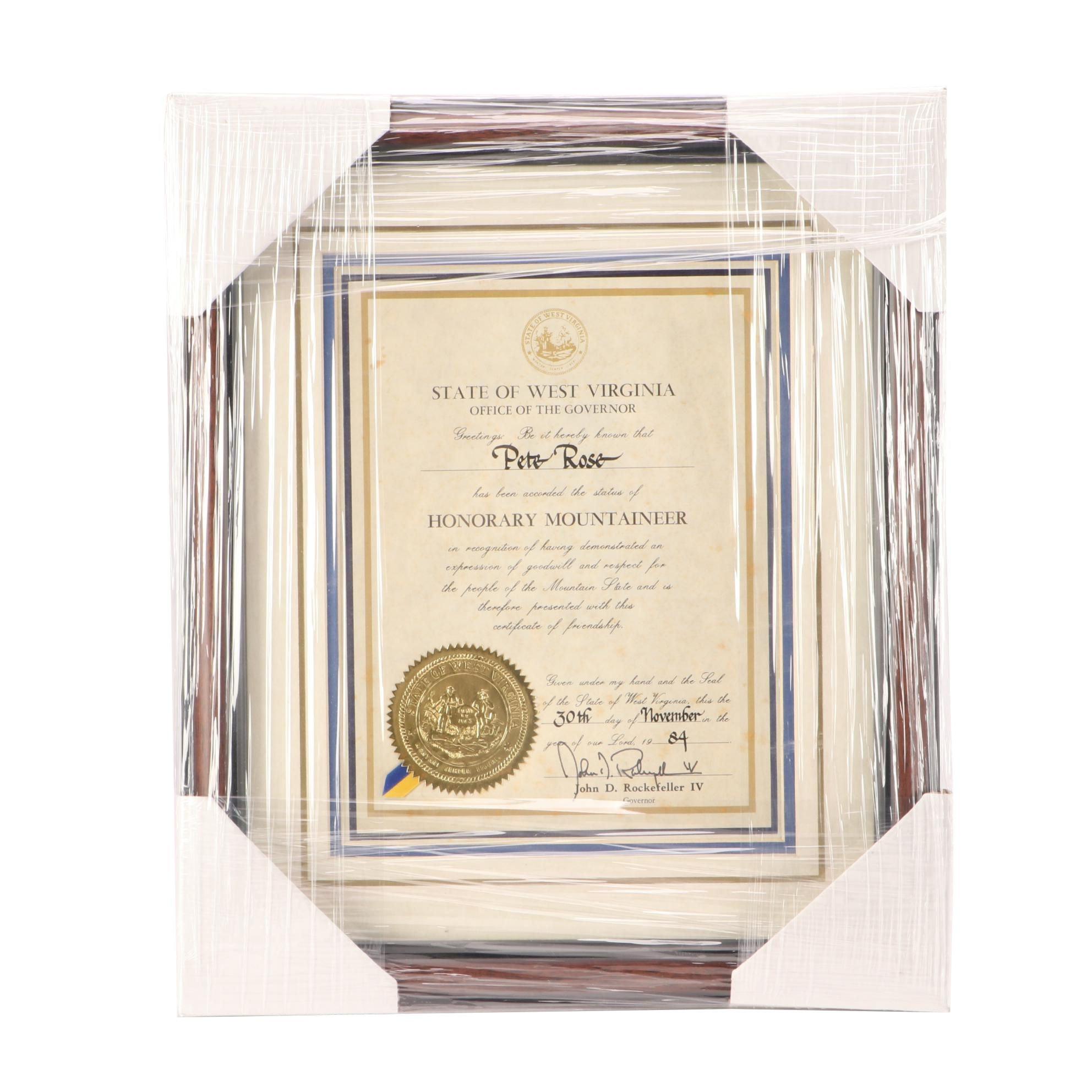 1984 Pete Rose Award  COA