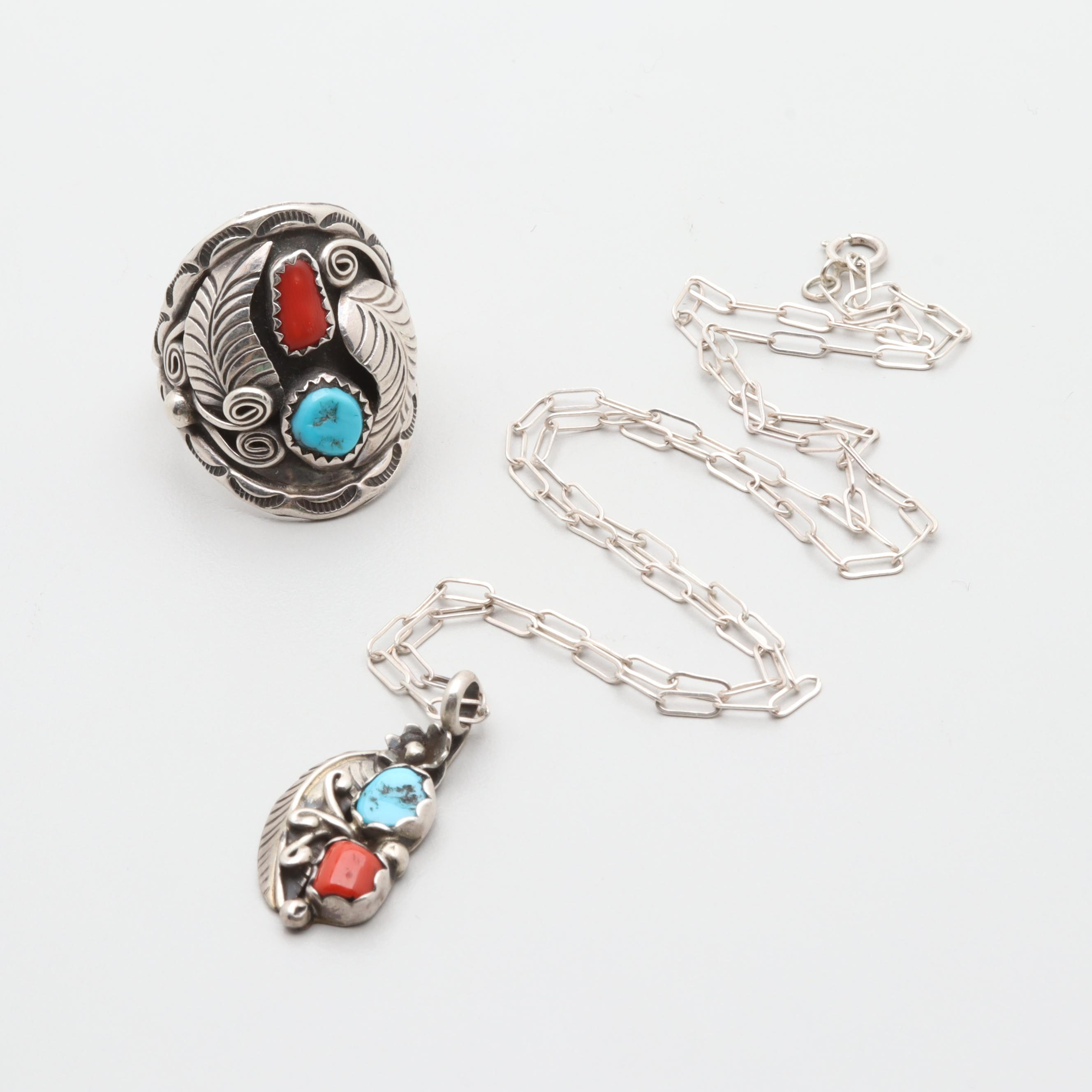 Sterling Silver Turquoise and Coral Necklace and Ring Including 800 Silver