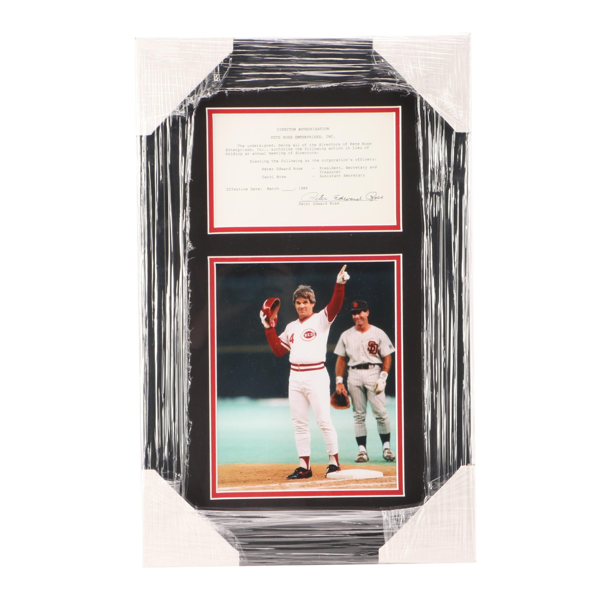 Pete Rose Signed 1989 Document Display  COA