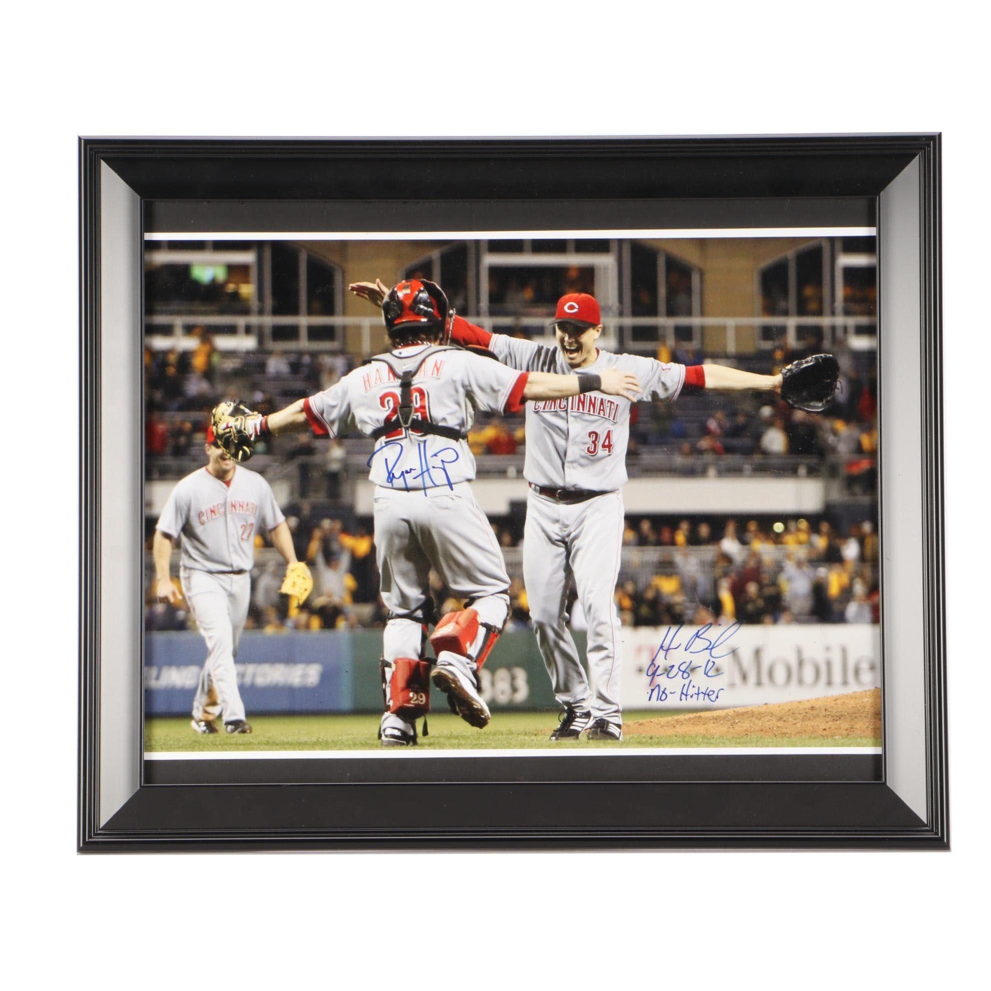 "Homer Bailey and Ryan Hanigan Signed ""No-Hitter"" Cincinnati Reds Framed Display"