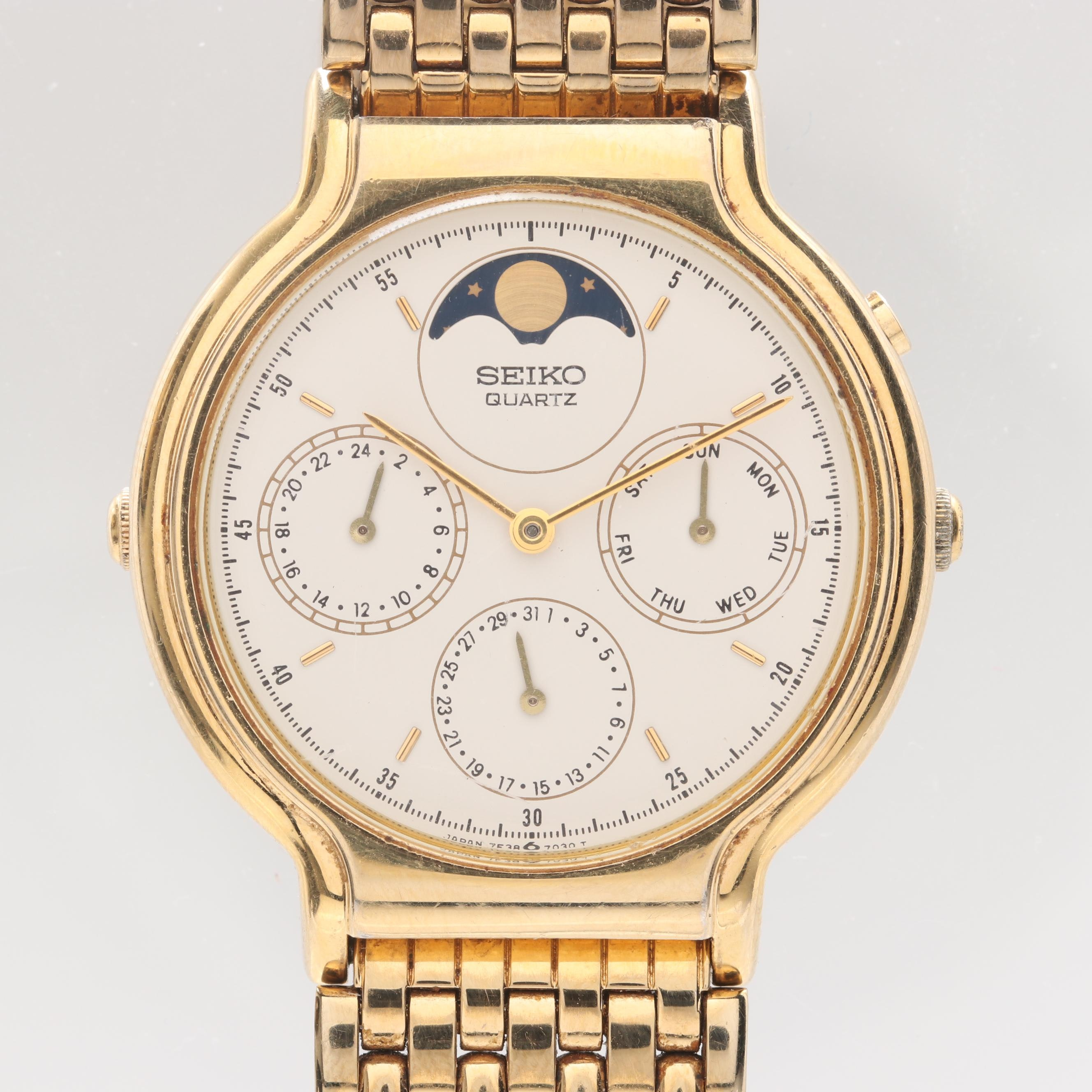 Seiko Gold Tone Stainless Steel Wristwatch