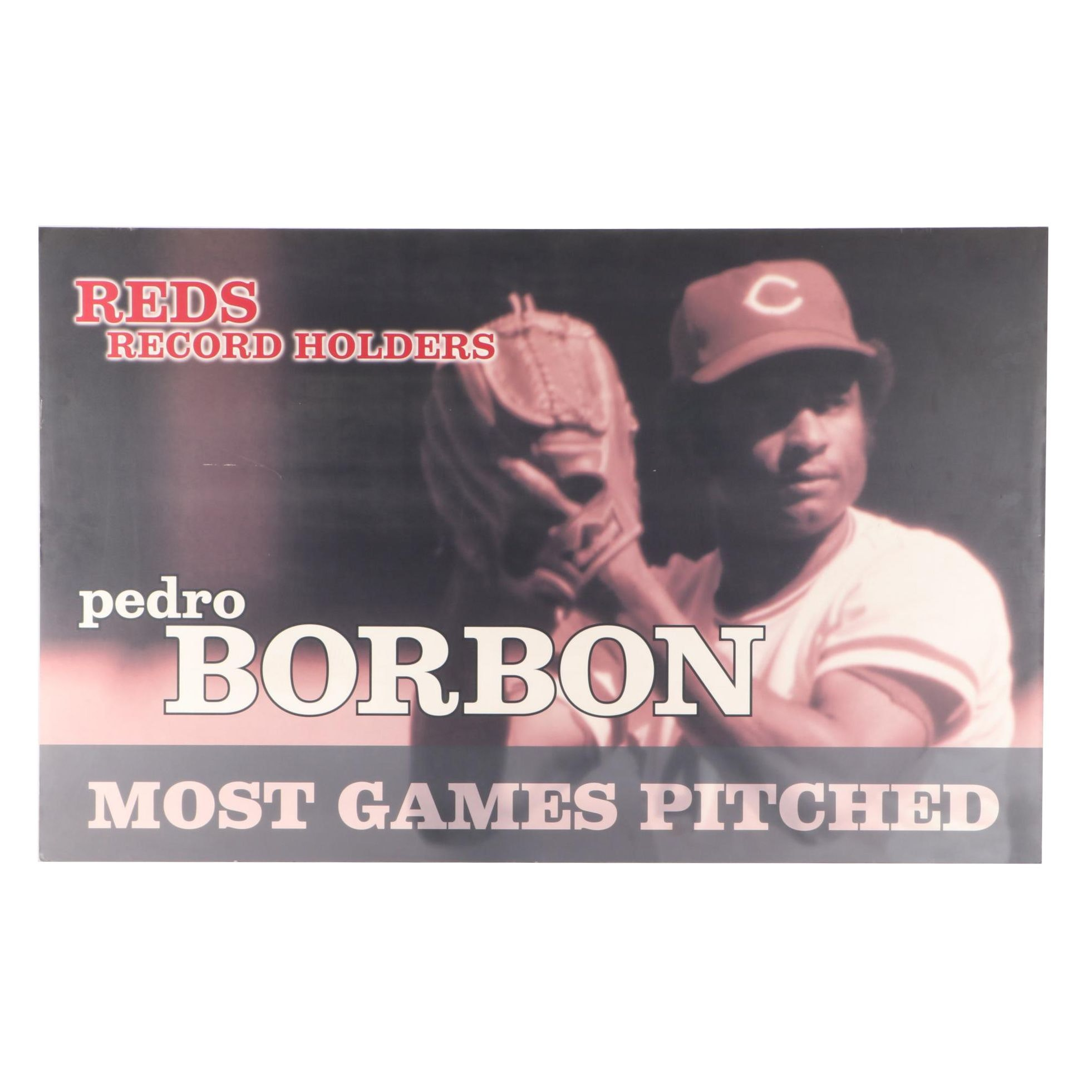 "Pedro Borbo Cincinnati Reds H Fame ""Most Games Pitched"" Baseball Display"