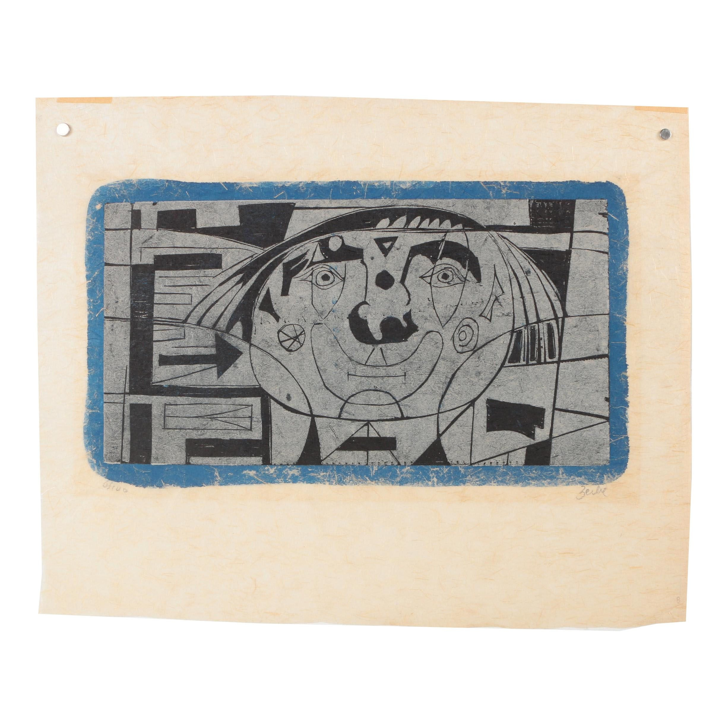 """Karl Zerbe Limited Edition Woodcut """"Clown"""""""
