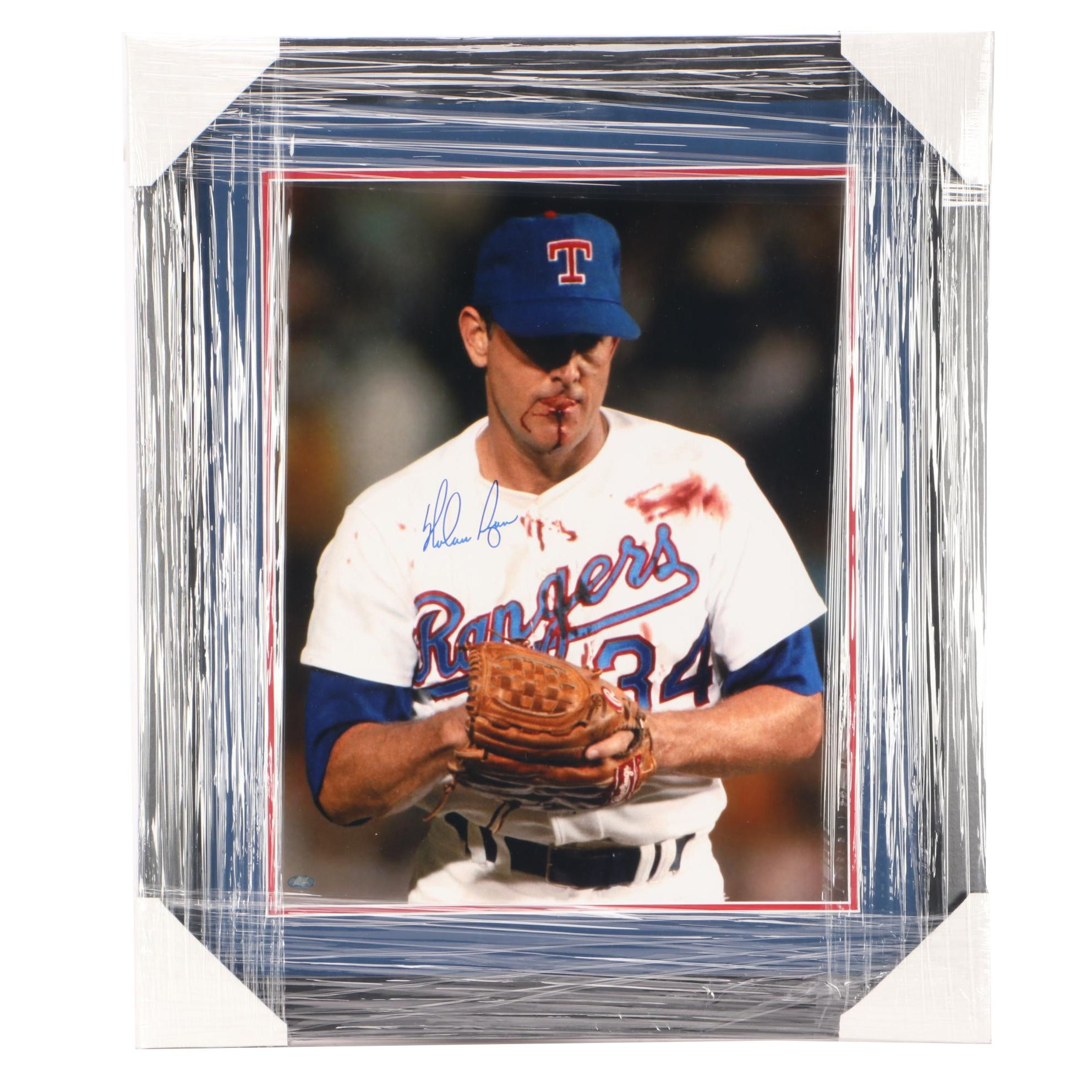 """Nolan Ryan Signed Texas Rangers """"Bloody Lip"""" Matted and Frame Display COA"""