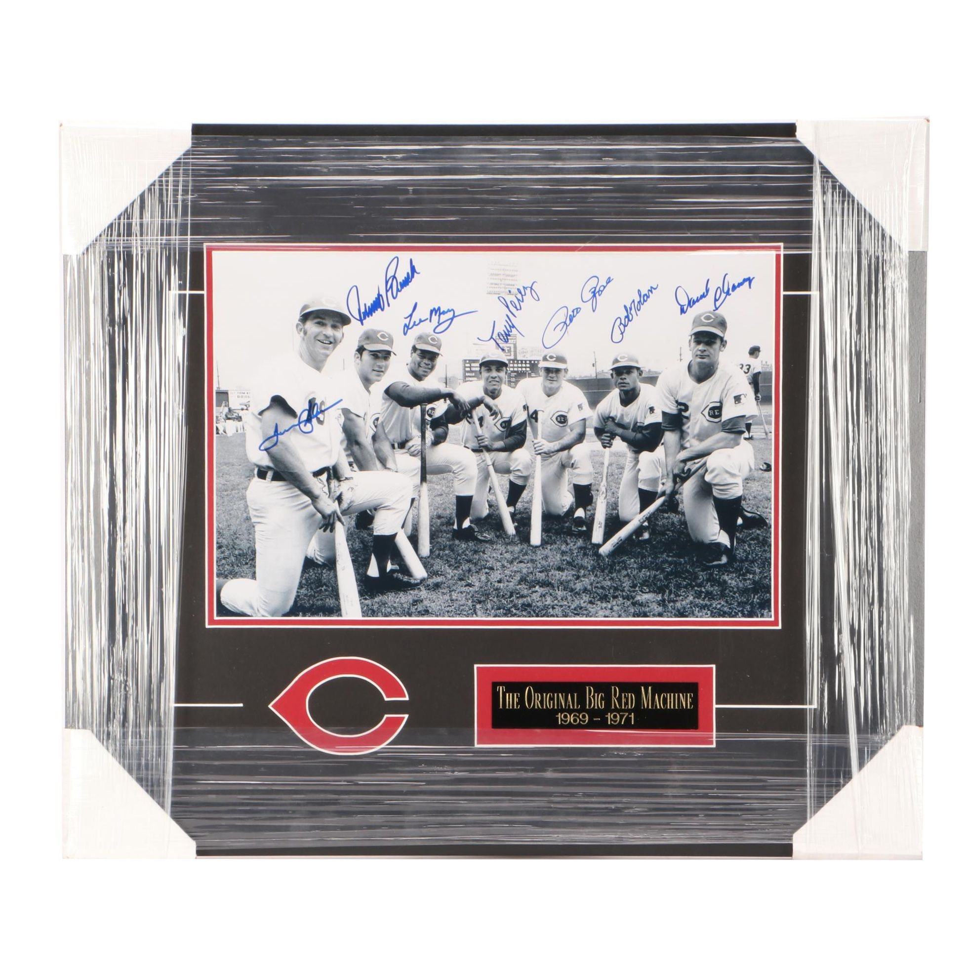 Professionally Matted and Framed Big Red Machine Autographed Display COA