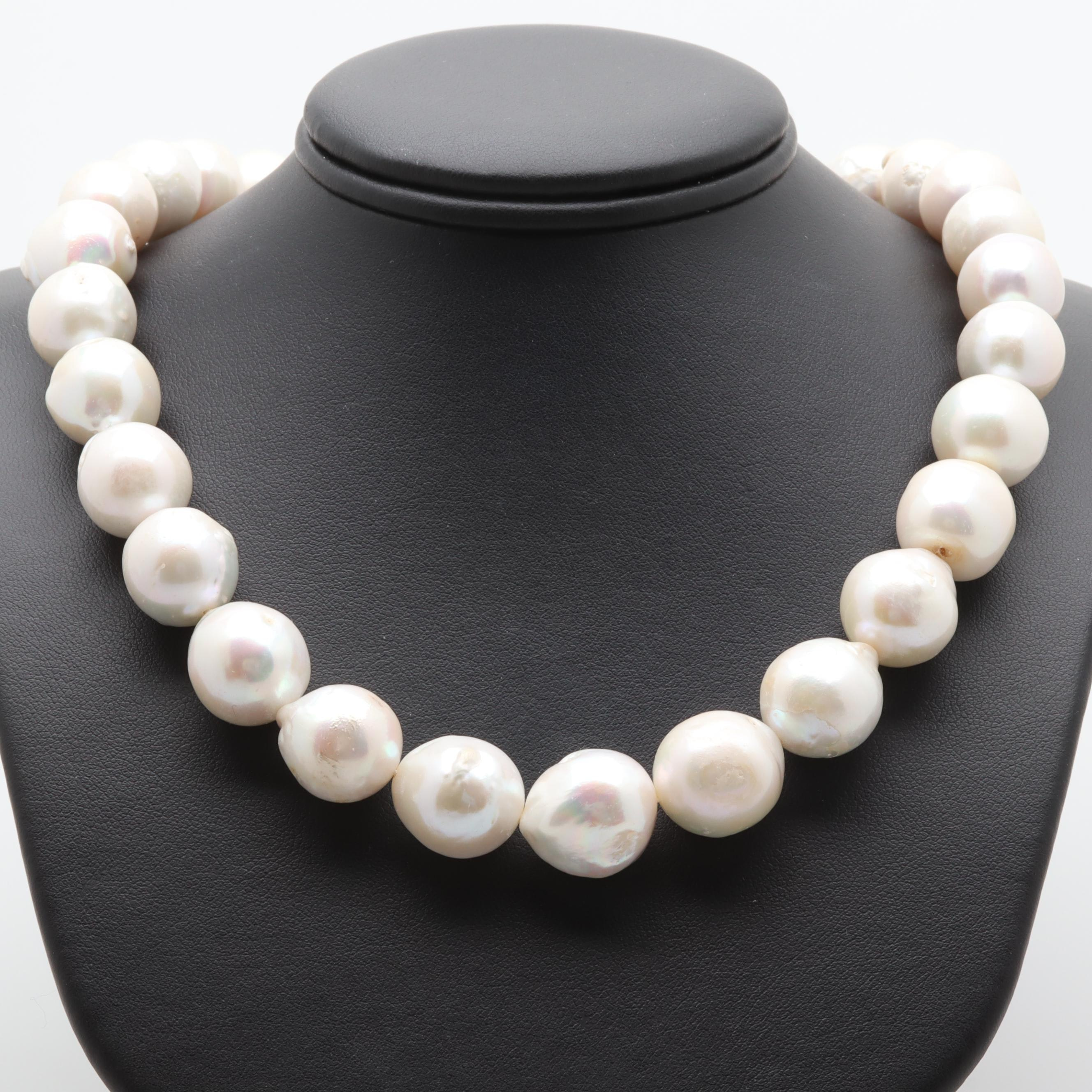 Baroque Cultured Pearl Single Strand Necklace