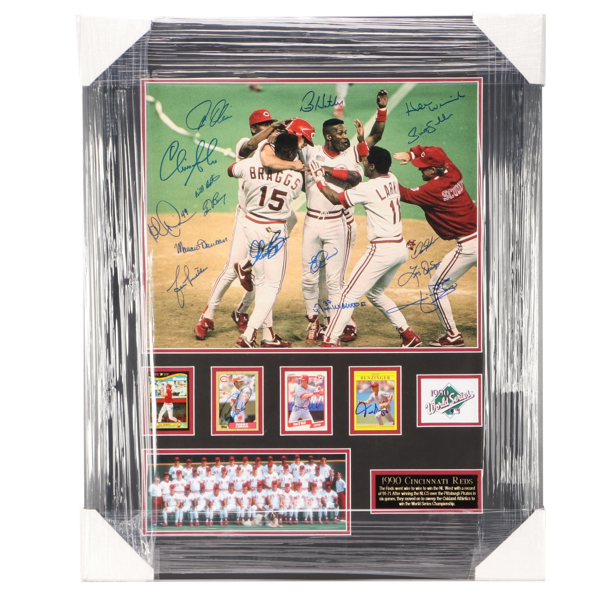 1990 Reds Signed World Series Display  COA