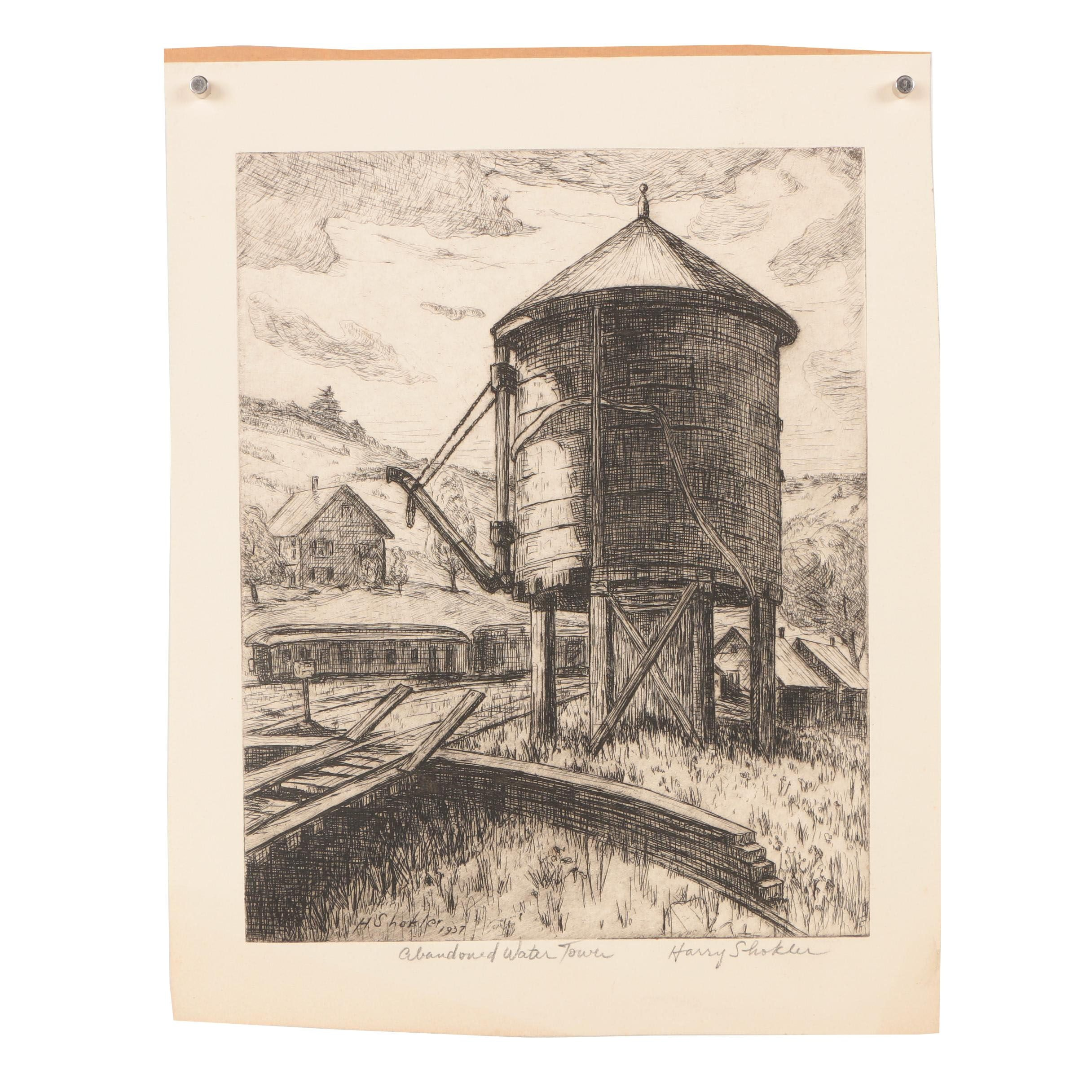 "Harry Shokler Etching ""Abandoned Water Tower"""