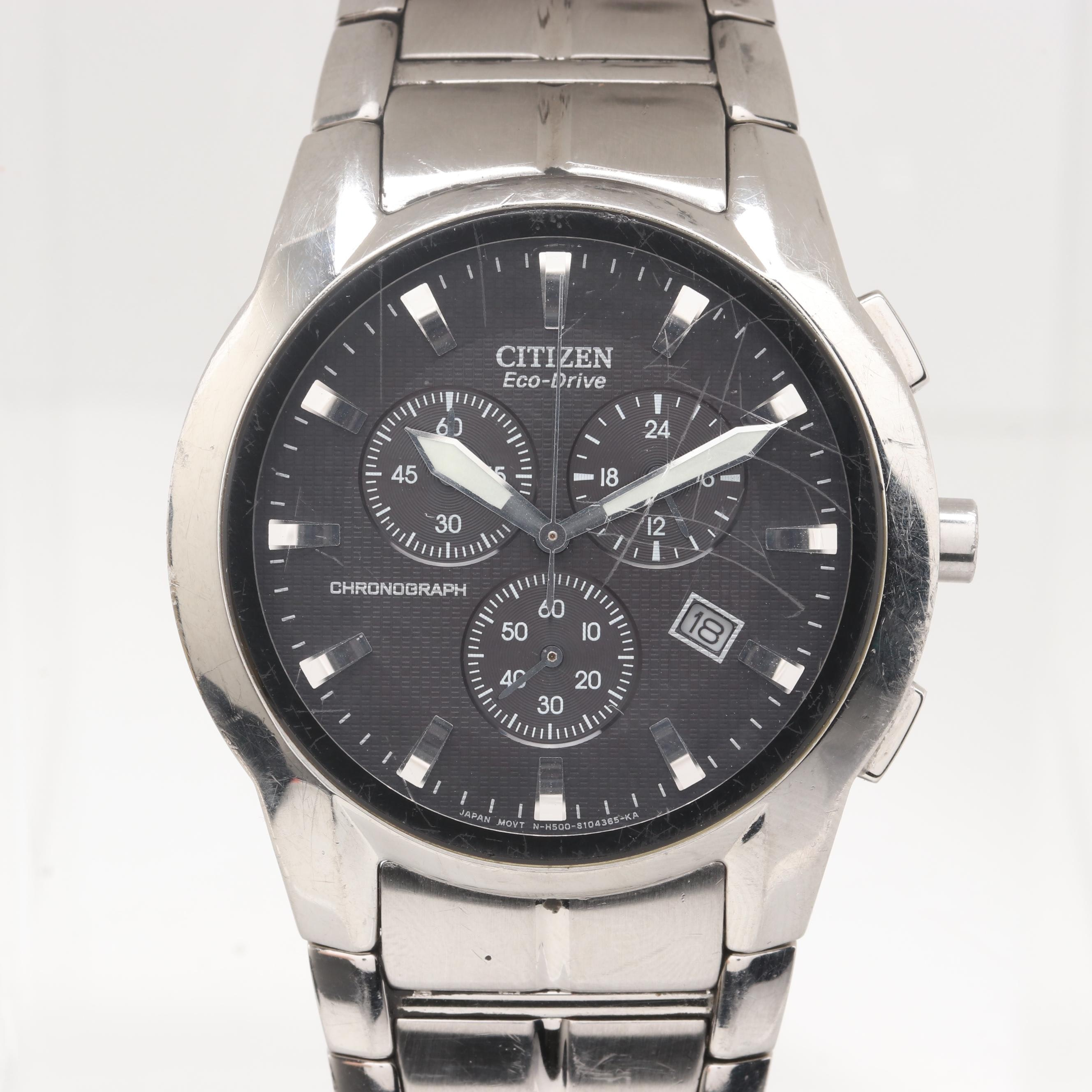 Citizen Eco-Drive Stainless Steel Chronograph Wristwatch