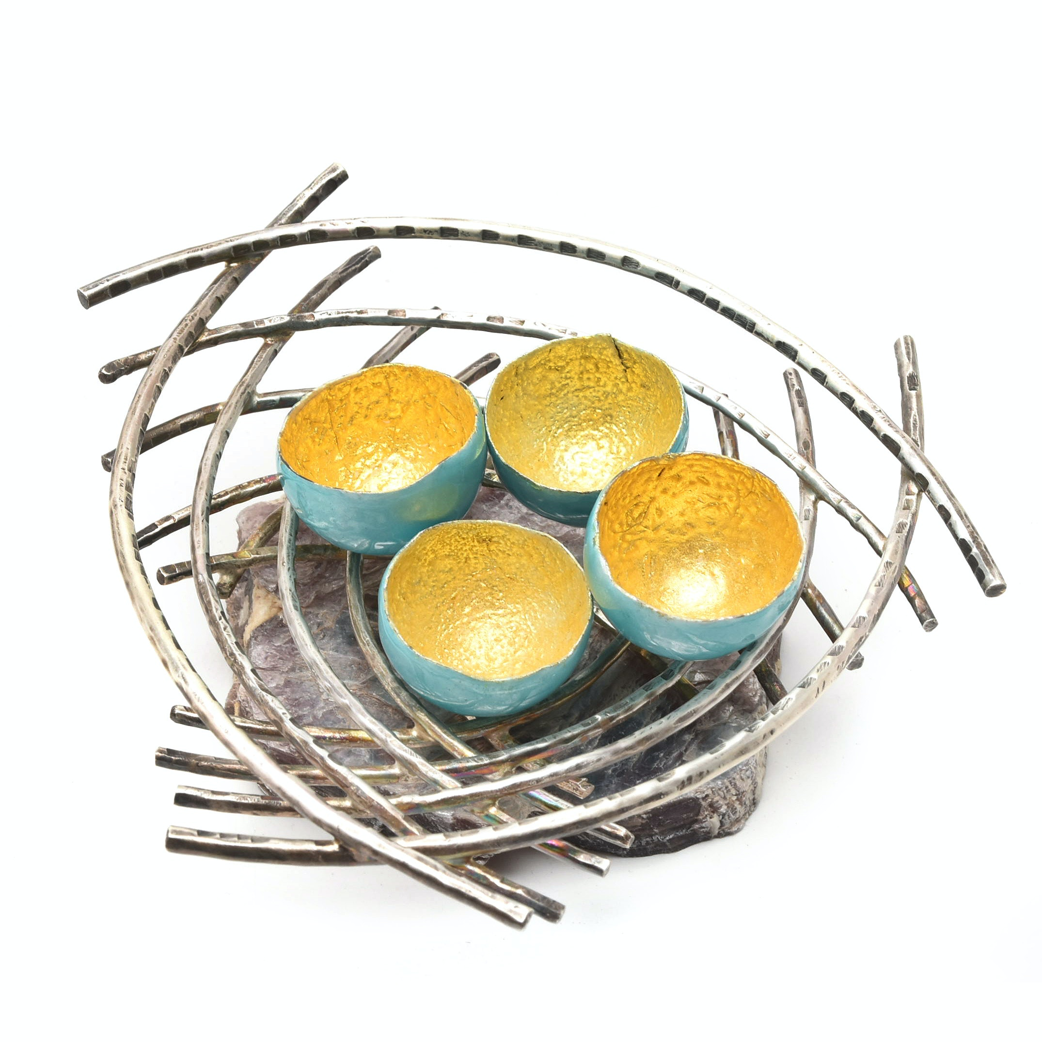 Hand Fabricated Sterling Silver Nest with Enamel and Gold Foil Eggs by P. Hackim