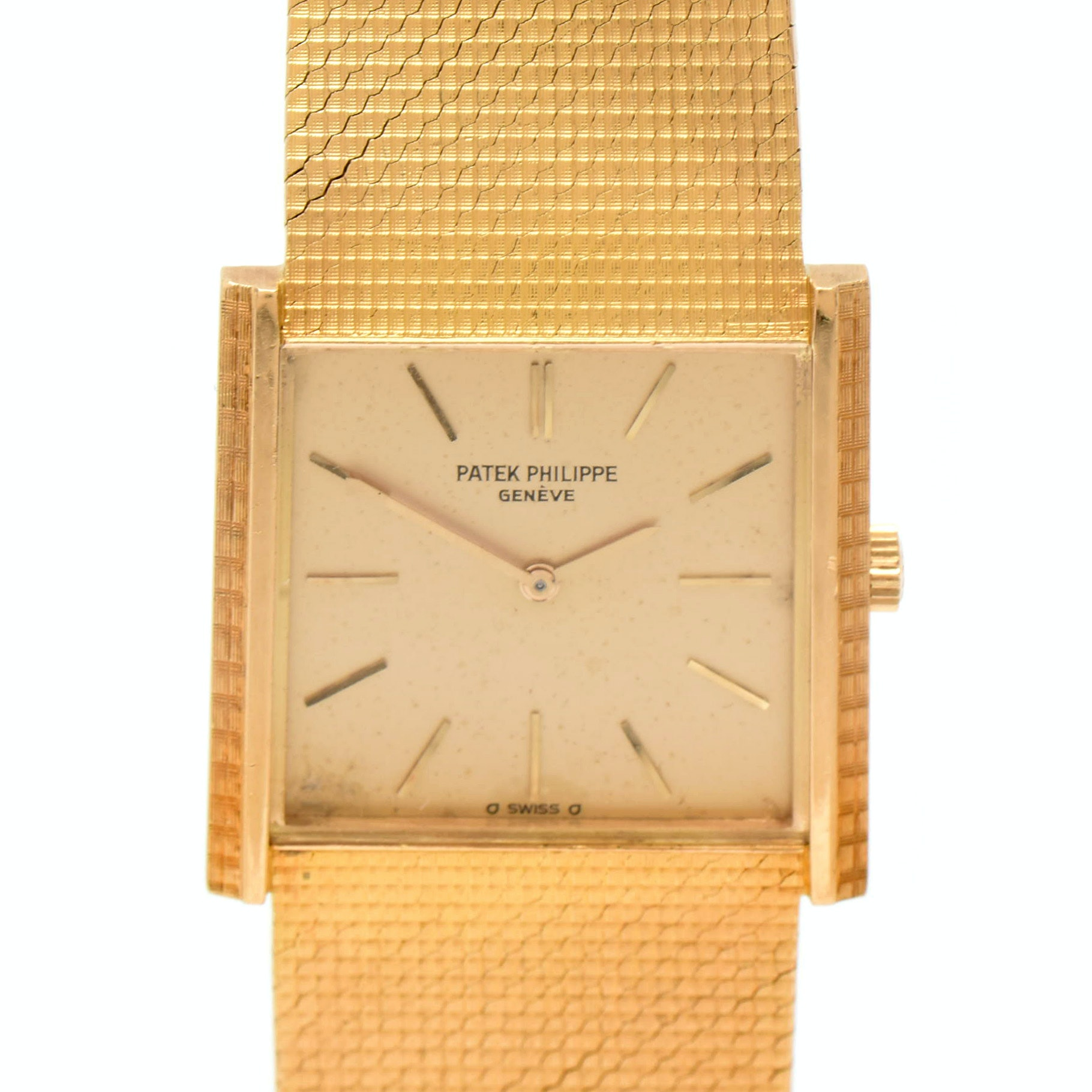 1970s Patek Philippe 18K Yellow Gold Square Dial with Mesh Bracelet Wristwatch