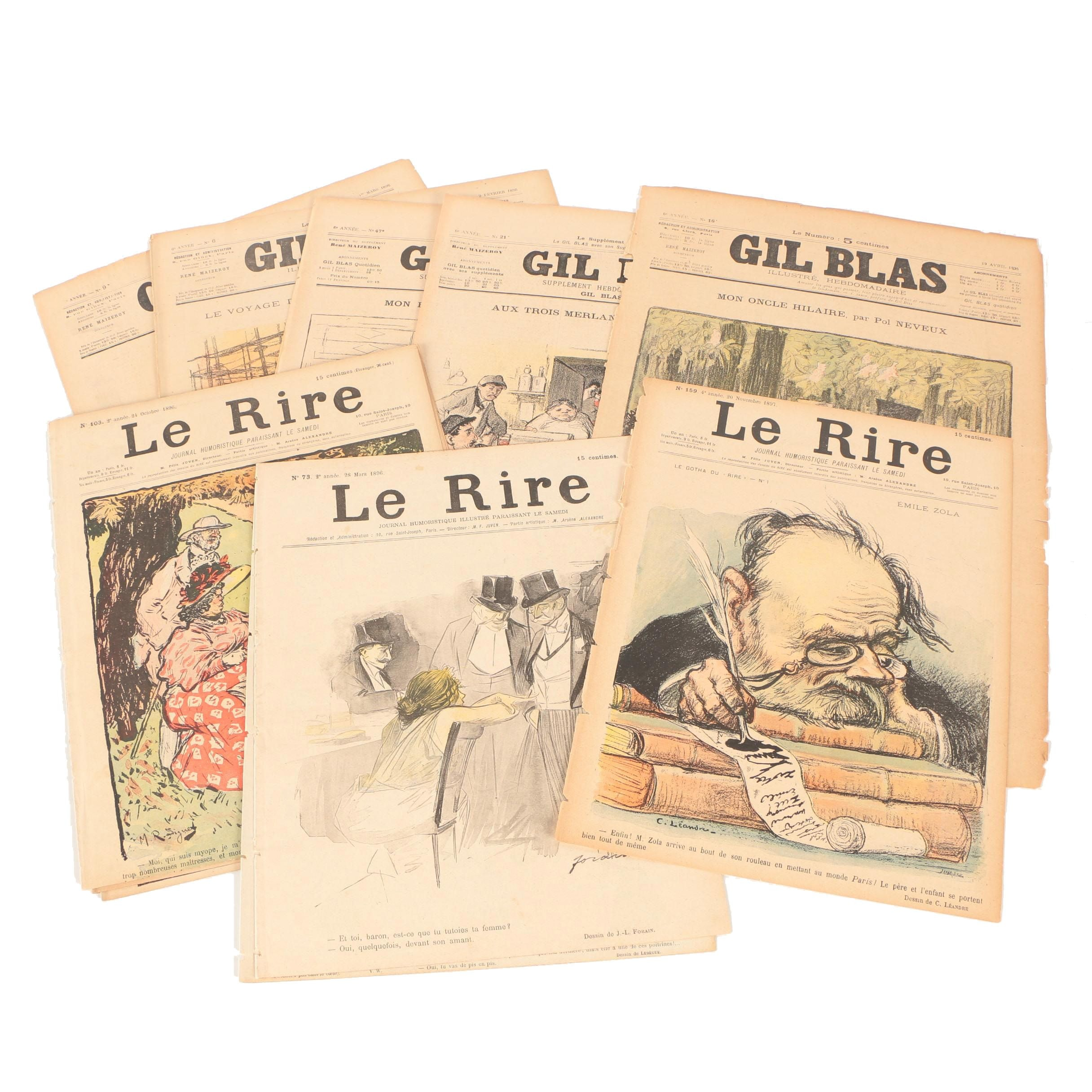 """Late 19th Century Illustrations and Text From """"Le Rire"""" and """"Gil Blas"""""""