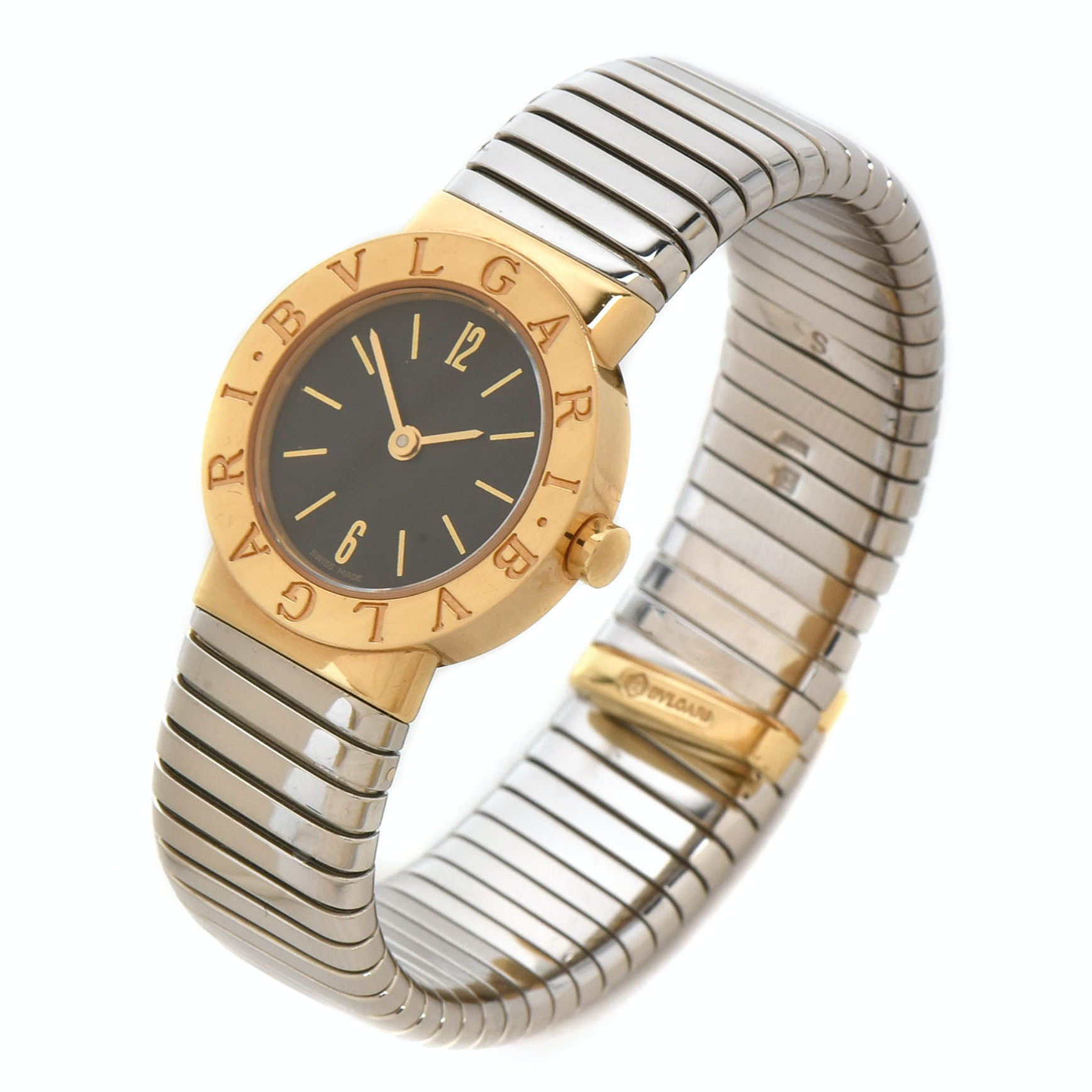 Bulgari Tubogas  18K Yellow Gold and Stainless Steel Wristwatch