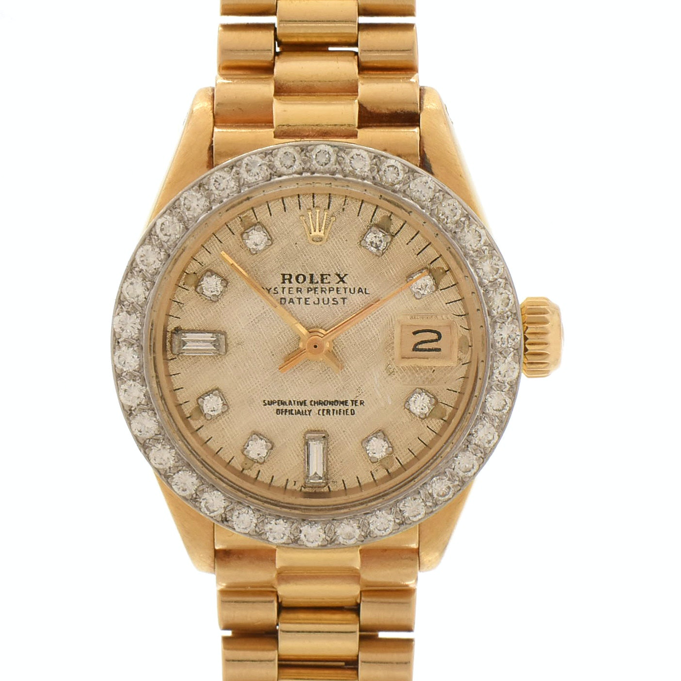 Rolex 18K Yellow Gold and Diamond Oyster Perpetual DateJust Wristwatch