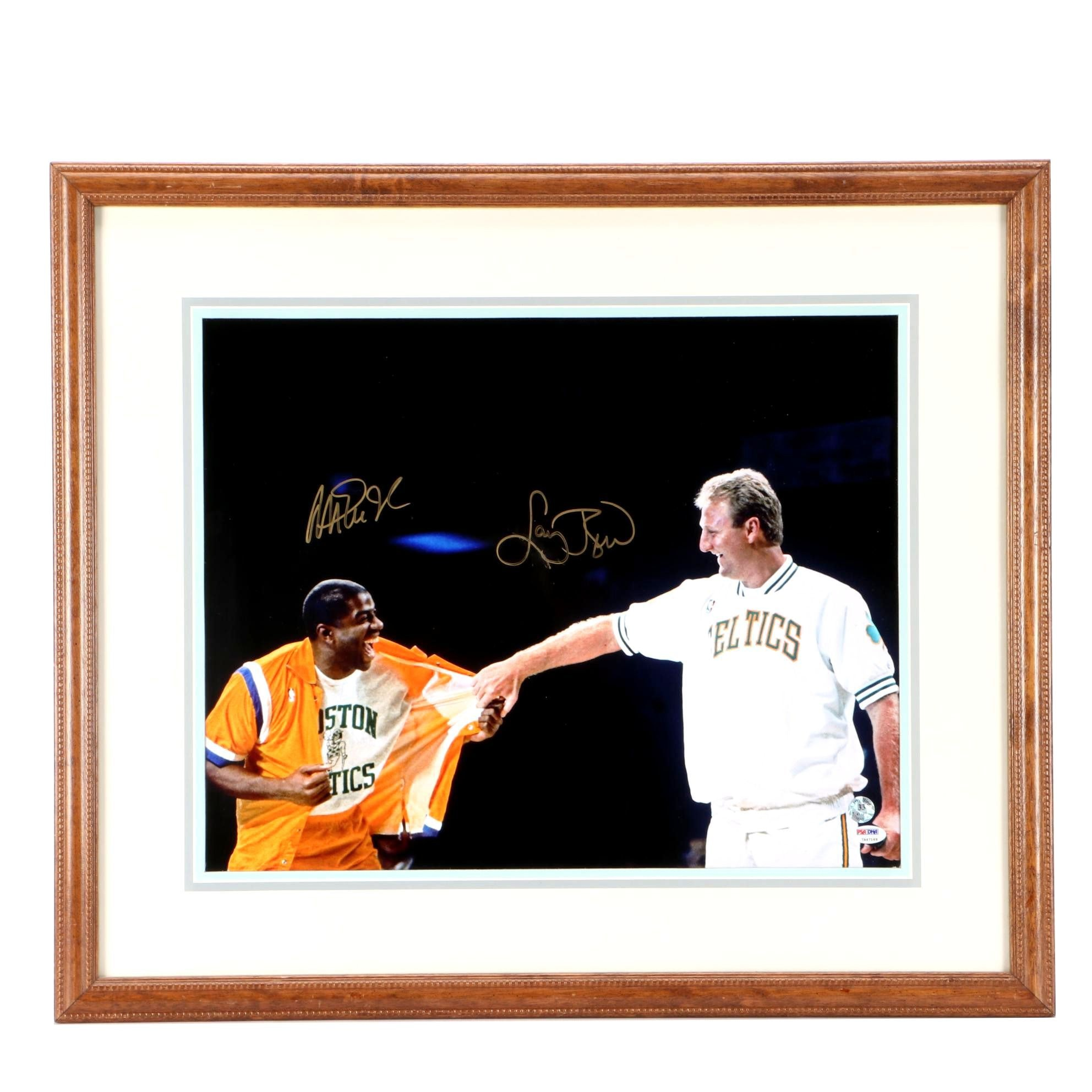 Magic Johnson and Larry Bird Signed Photo  COA