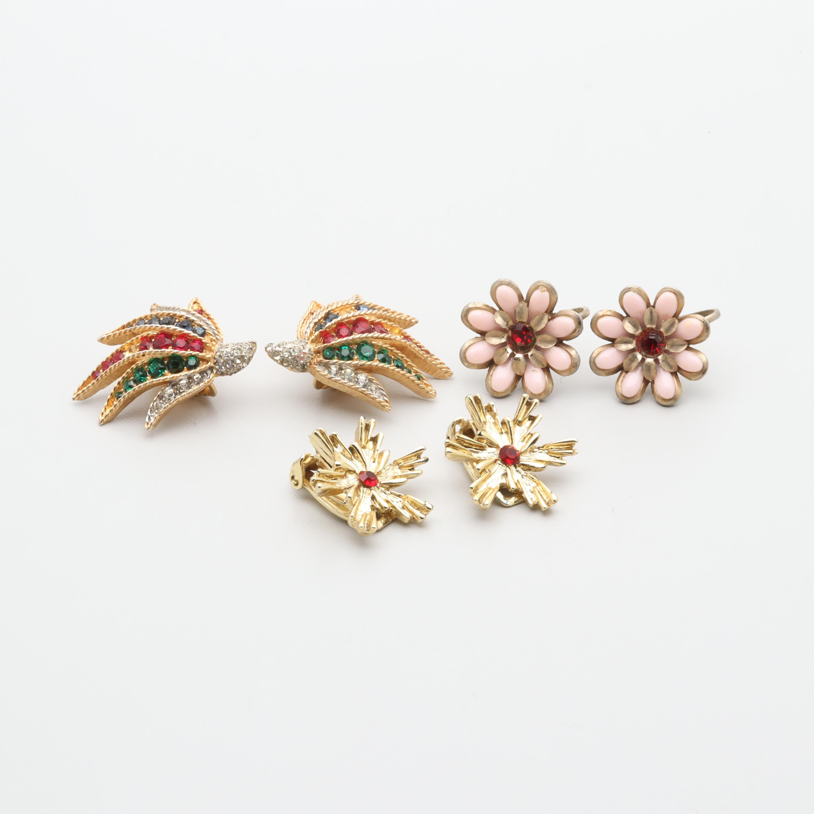 Vintage Gold Tone Foilback and Plastic Earring Selection