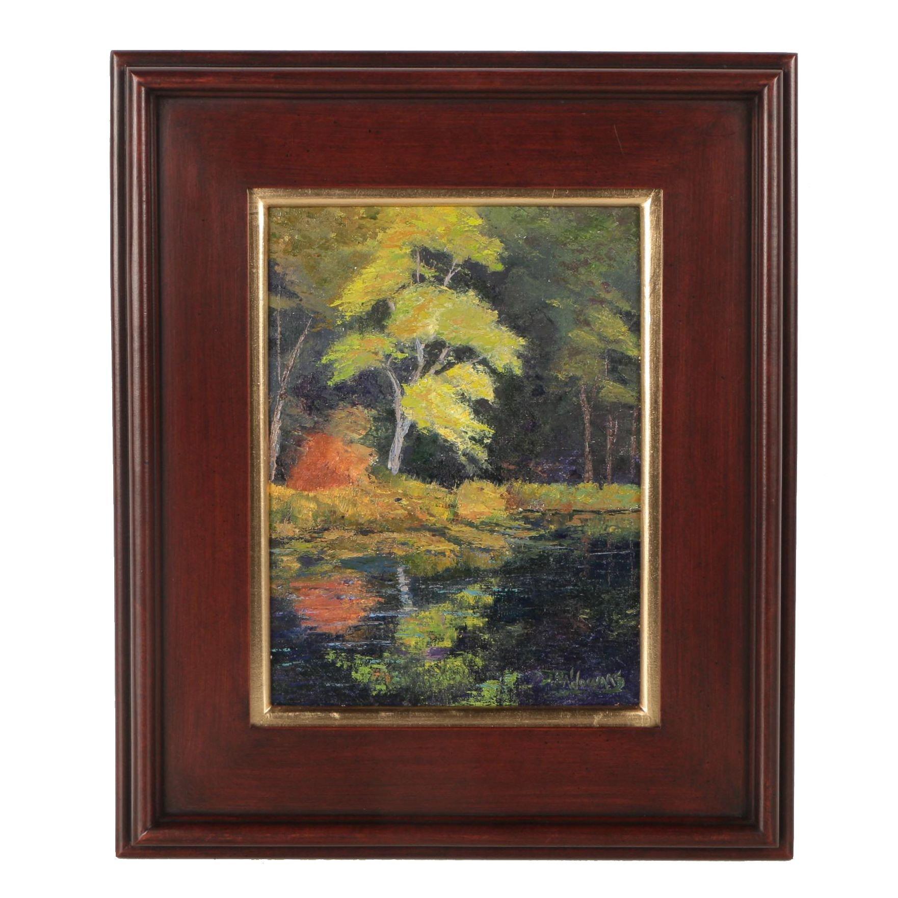"""James Baldoumas Oil Painting """"Pond & Trees"""""""