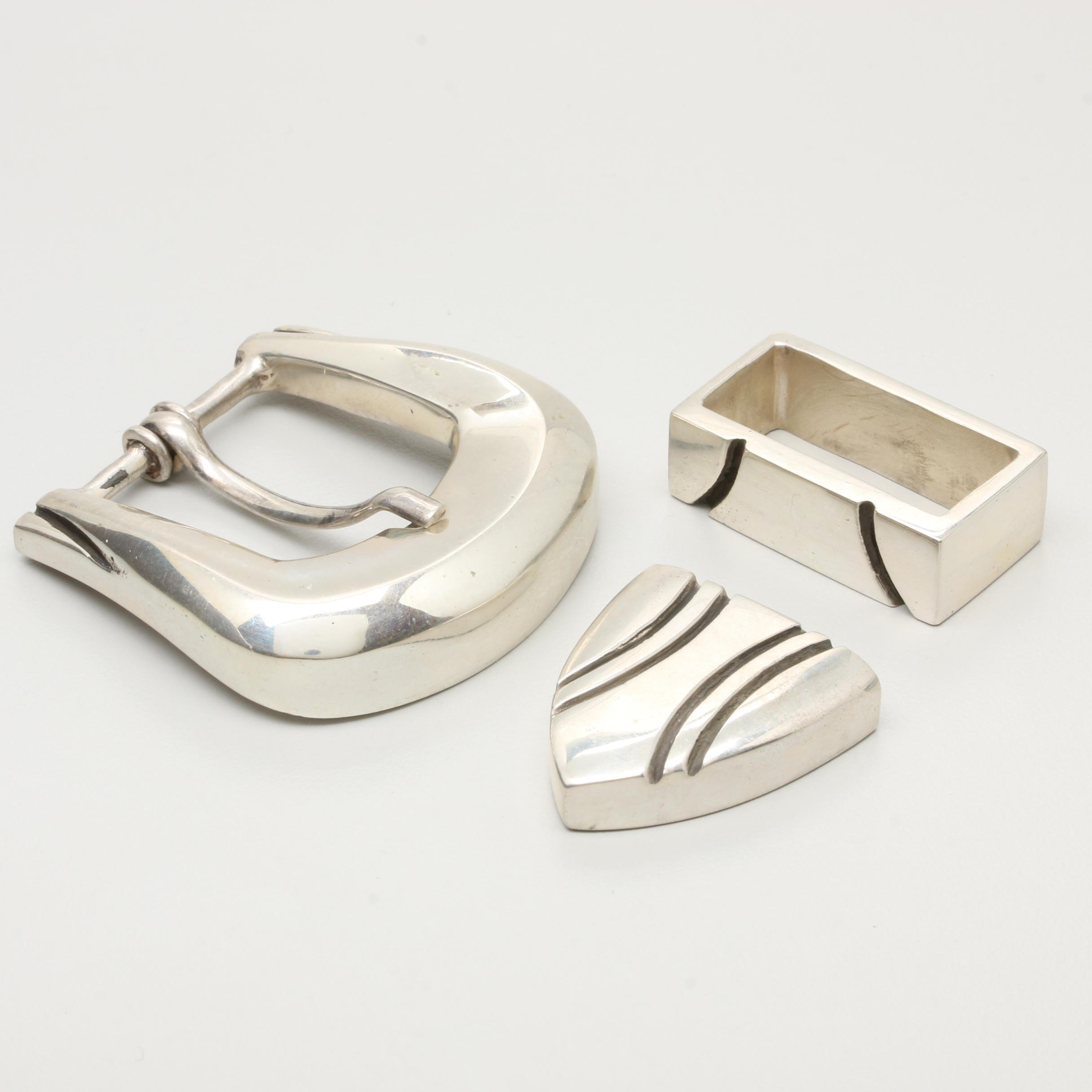 Kokopelli Sterling Silver Belt Buckle Set