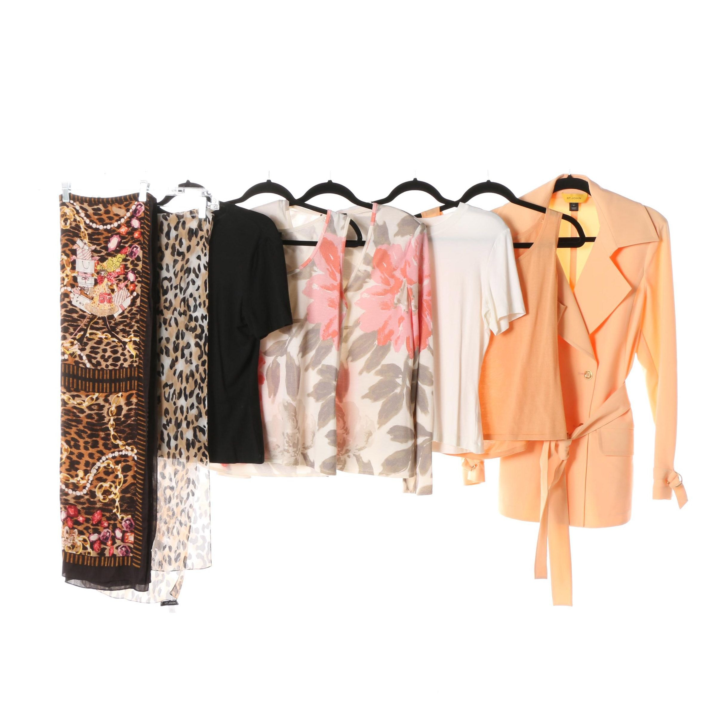 St. John Brand Clothing including Sets with Animal Print Scarves