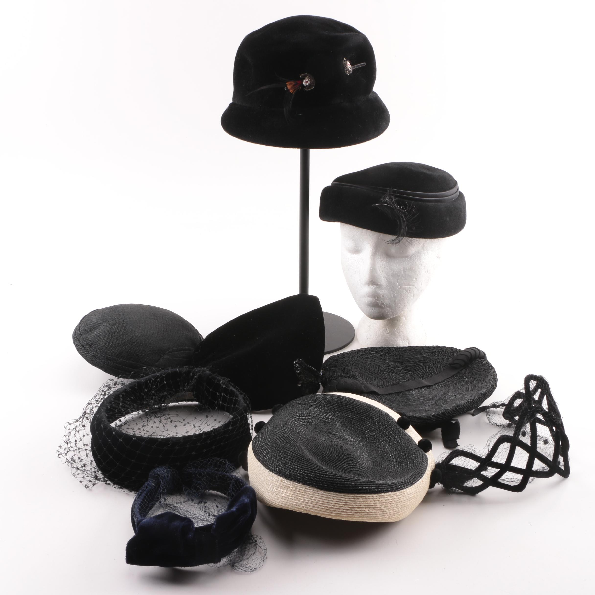 Women's Vintage Black and Navy Headwear including Betmar and Janyth Roy