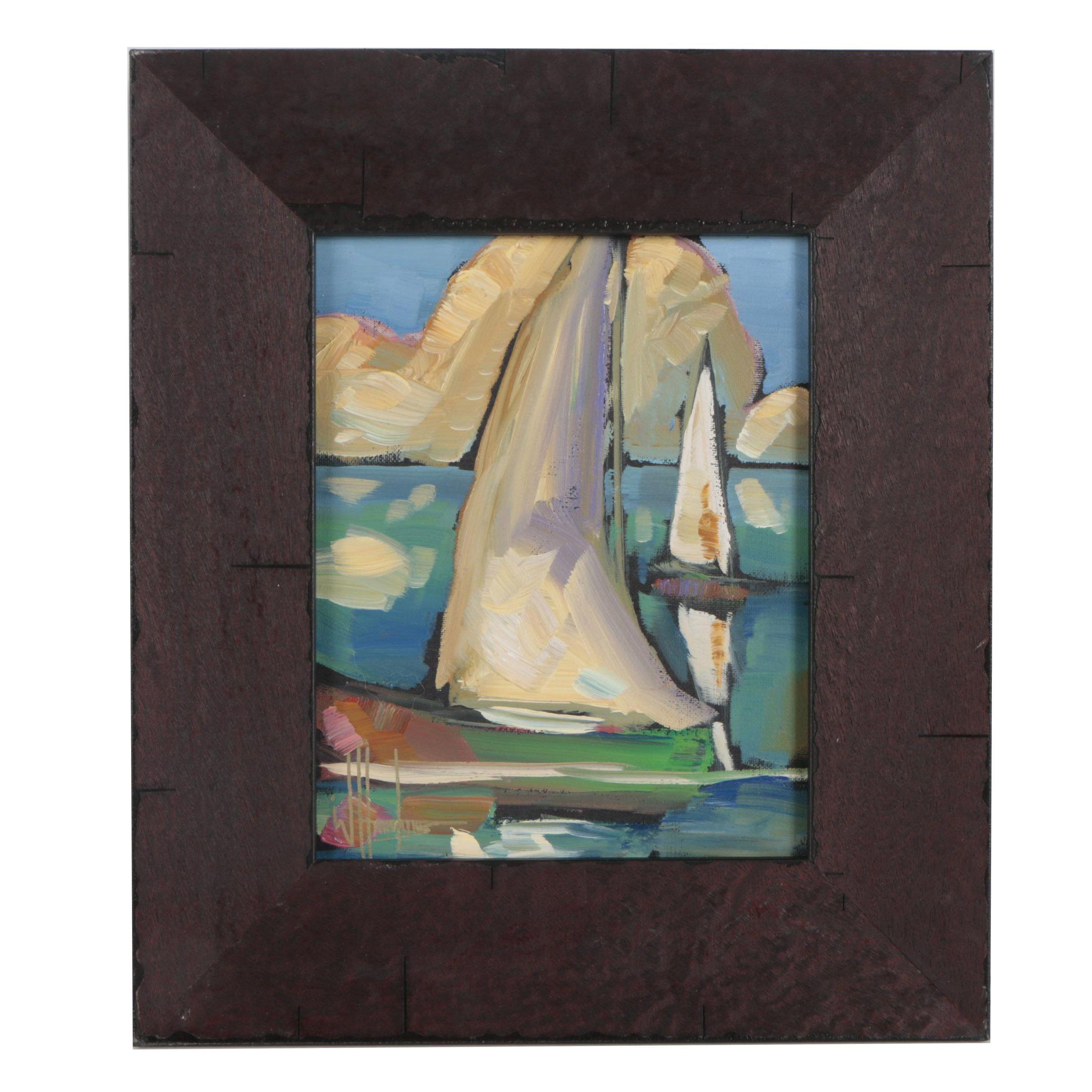 William Hawkins Seascape Oil Painting