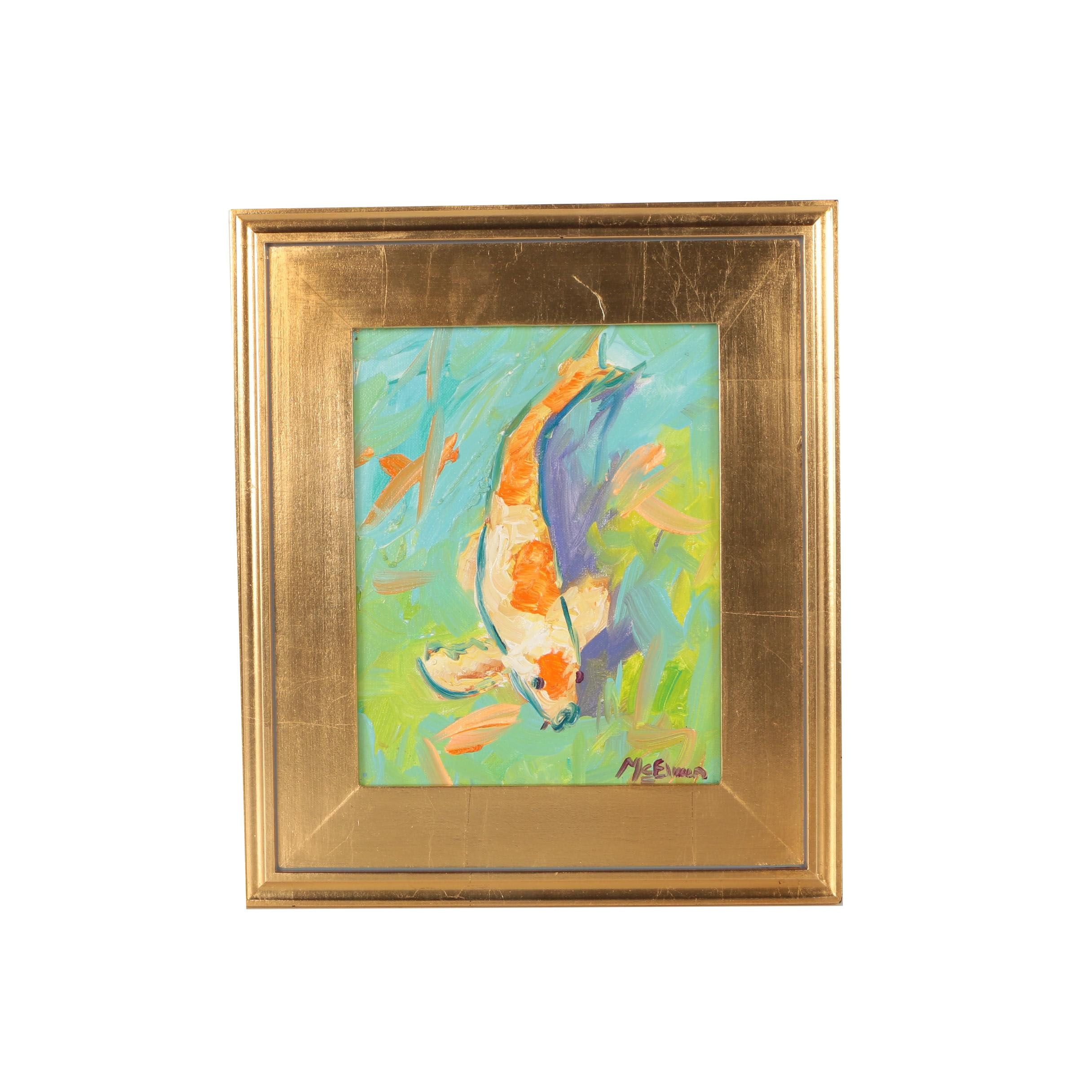 """Claire McElveen Oil Painting """"Koi Abstract"""""""