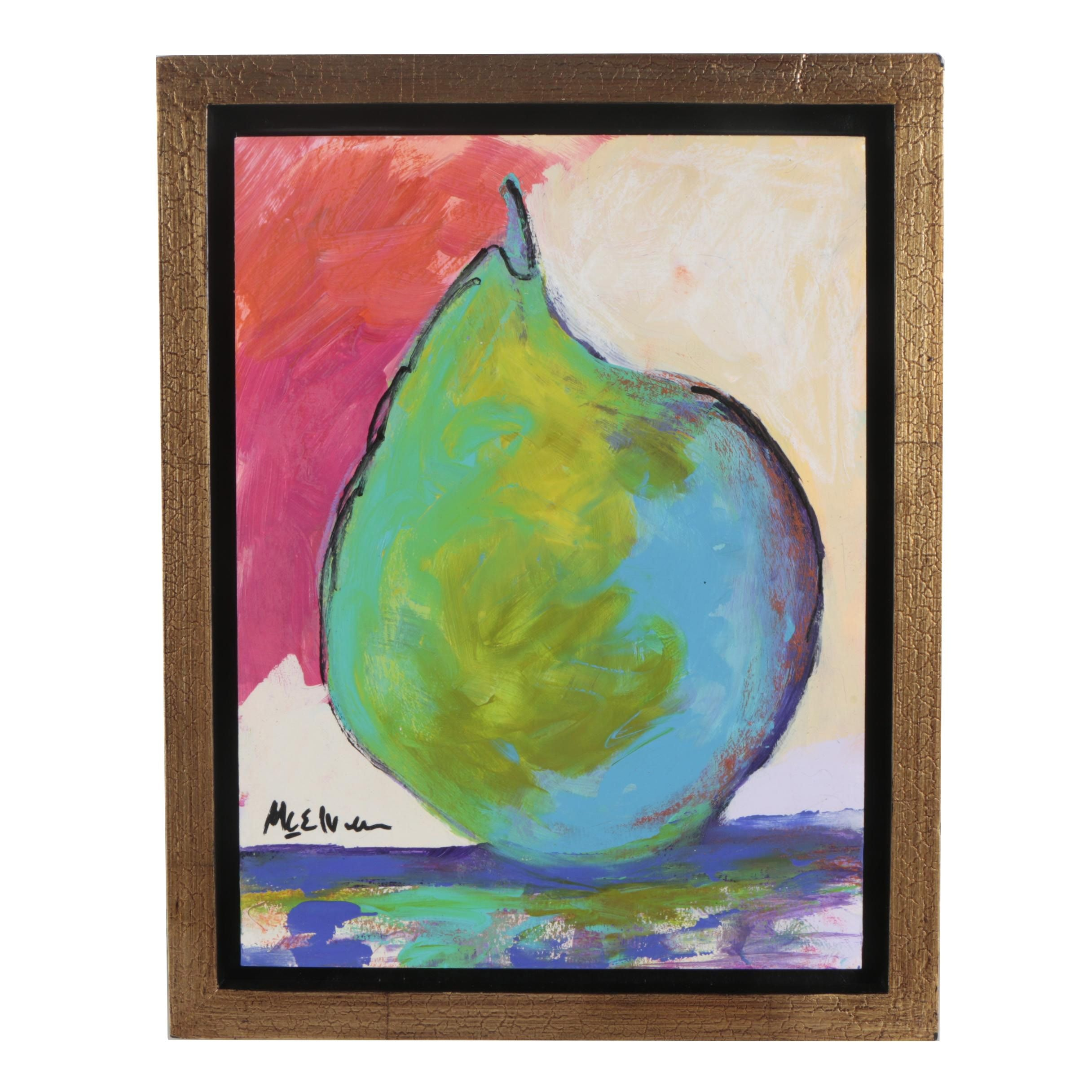 """Claire McElveen Mixed Media Painting """"Pear Abstract"""""""