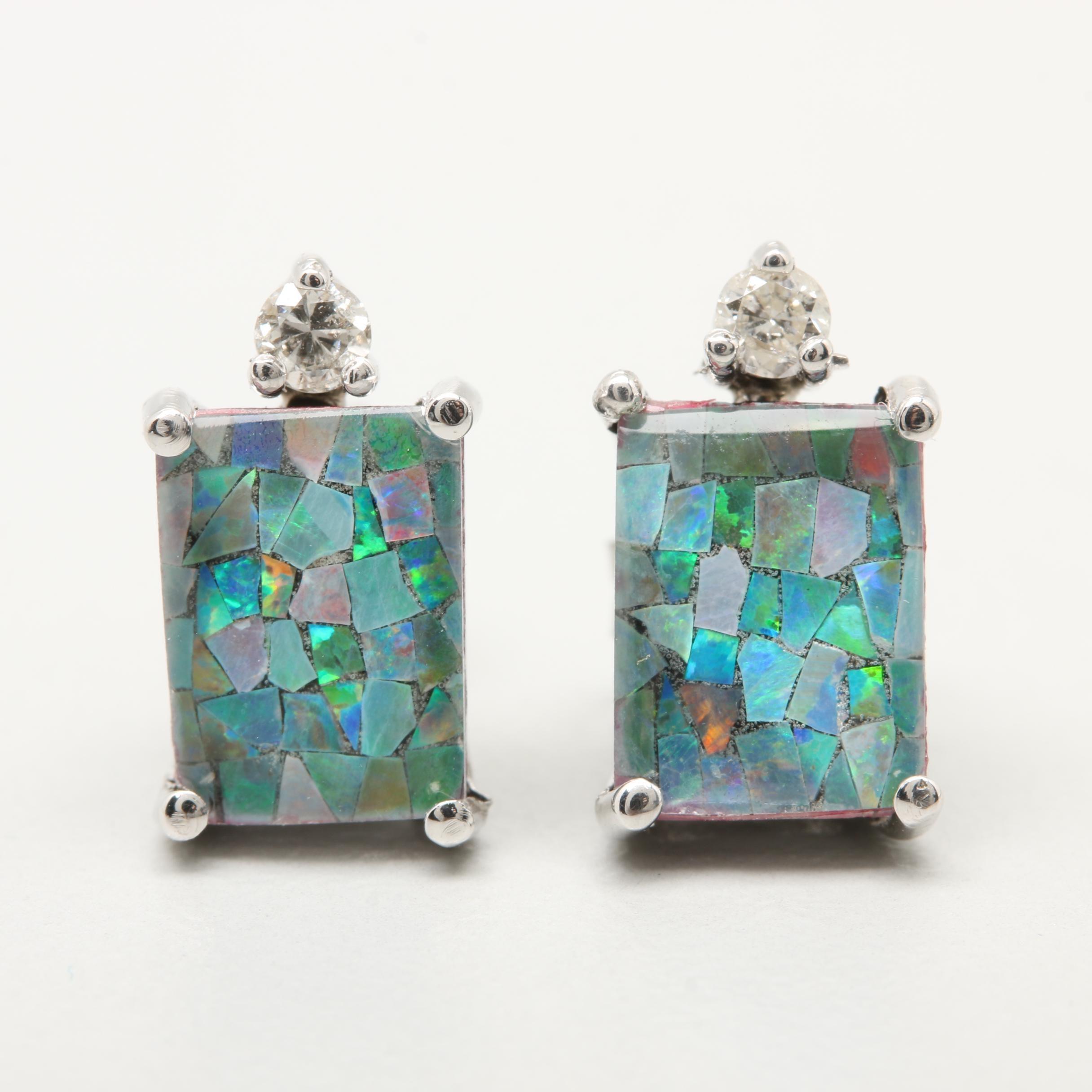 14K White Gold Opal Mosaic Triplet and Diamond Earrings