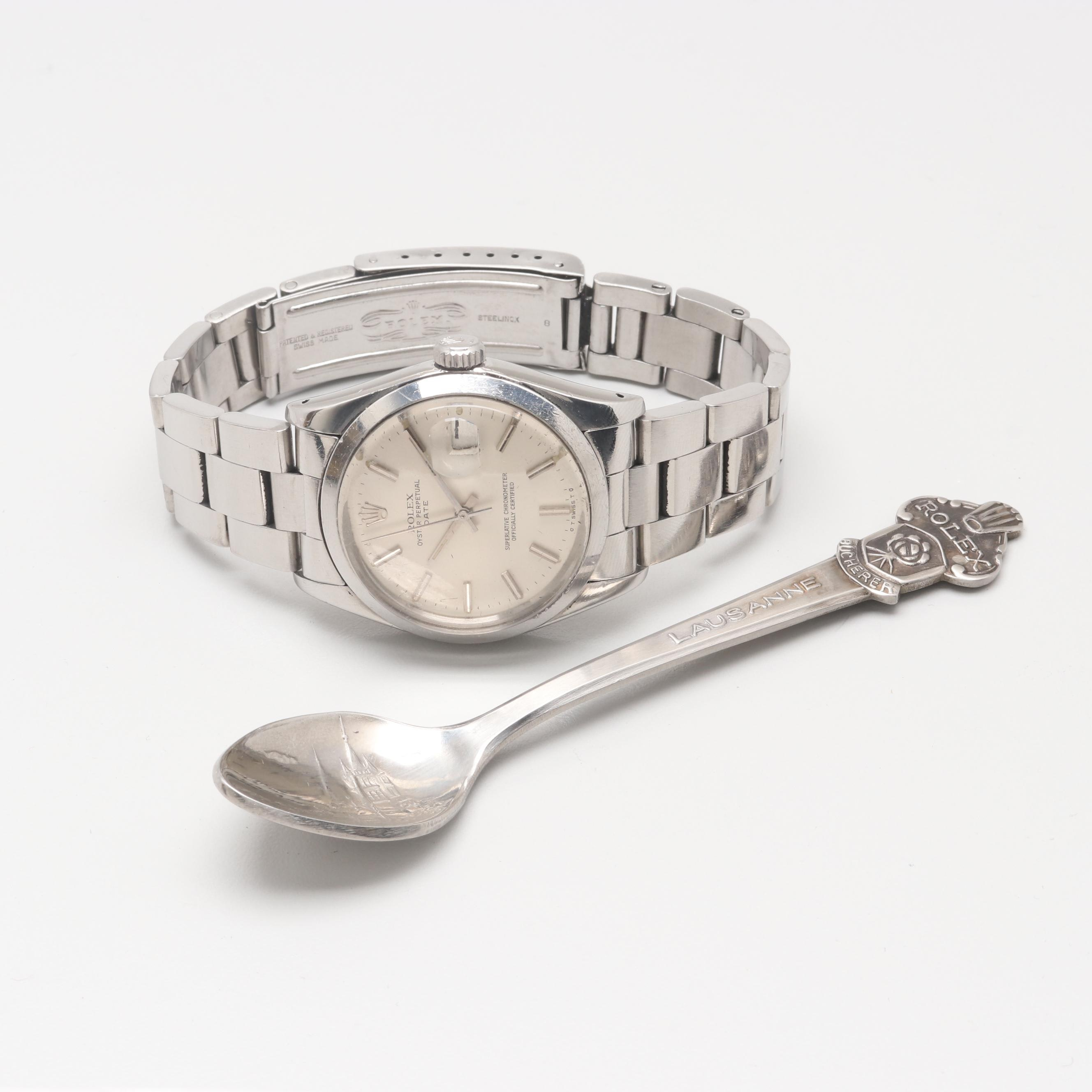 Circa 1974 Rolex Oyster Perpetual Date Wristwatch with Souvenir Spoon