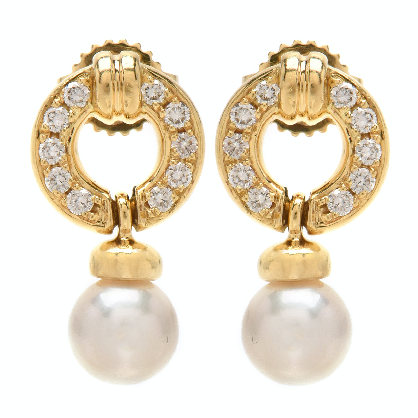 Tiffany & Co 18K Yellow Gold Pearl and Diamond Pierced Earrings