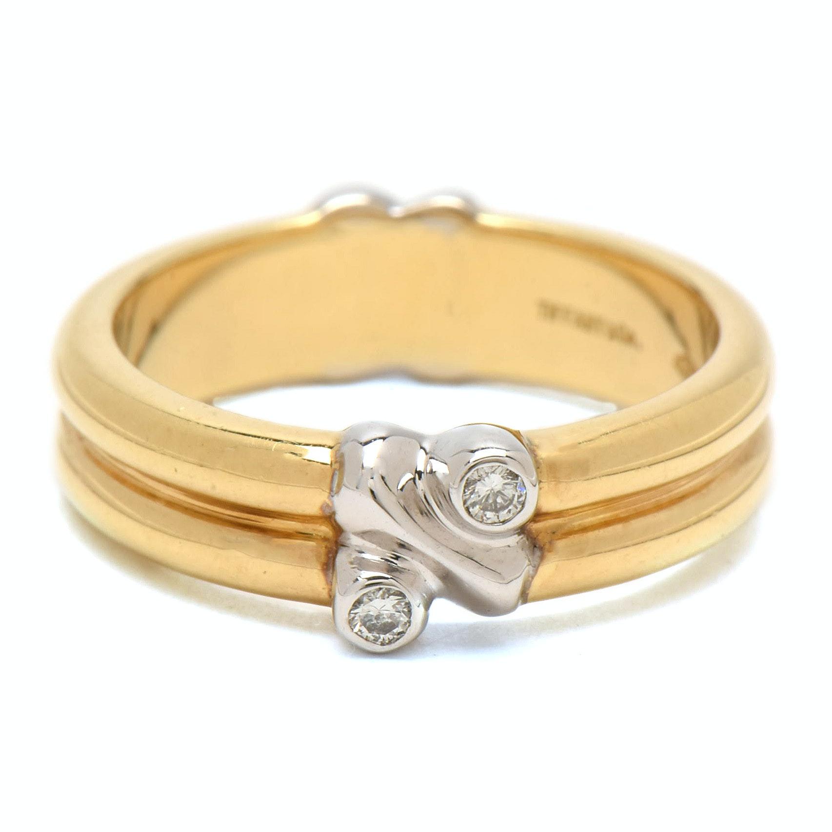 Tiffany & Co.  Italian 18K Yellow Gold Band with Diamonds
