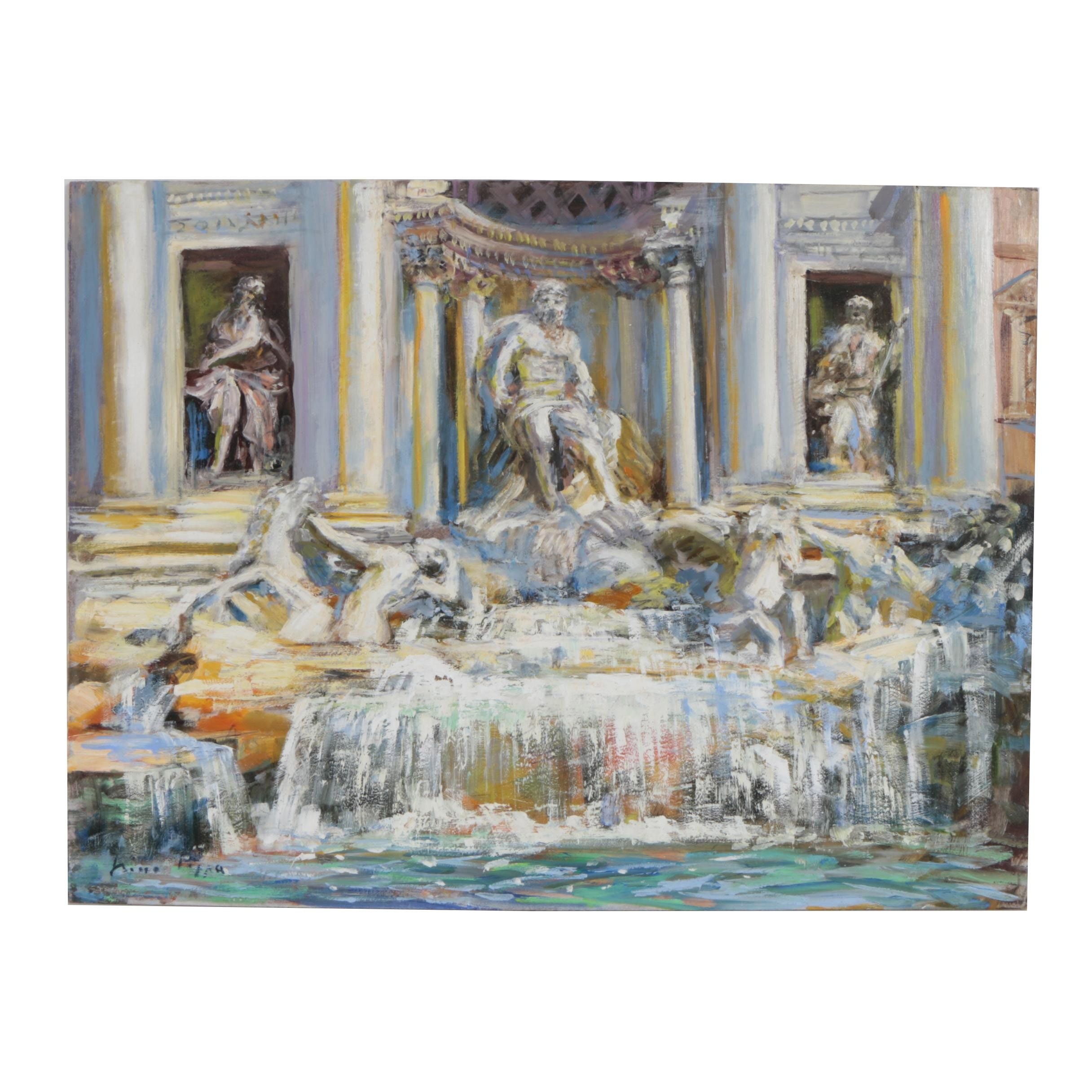 "Nino Pippa Oil Painting ""Rome - Trevi Fountain"""