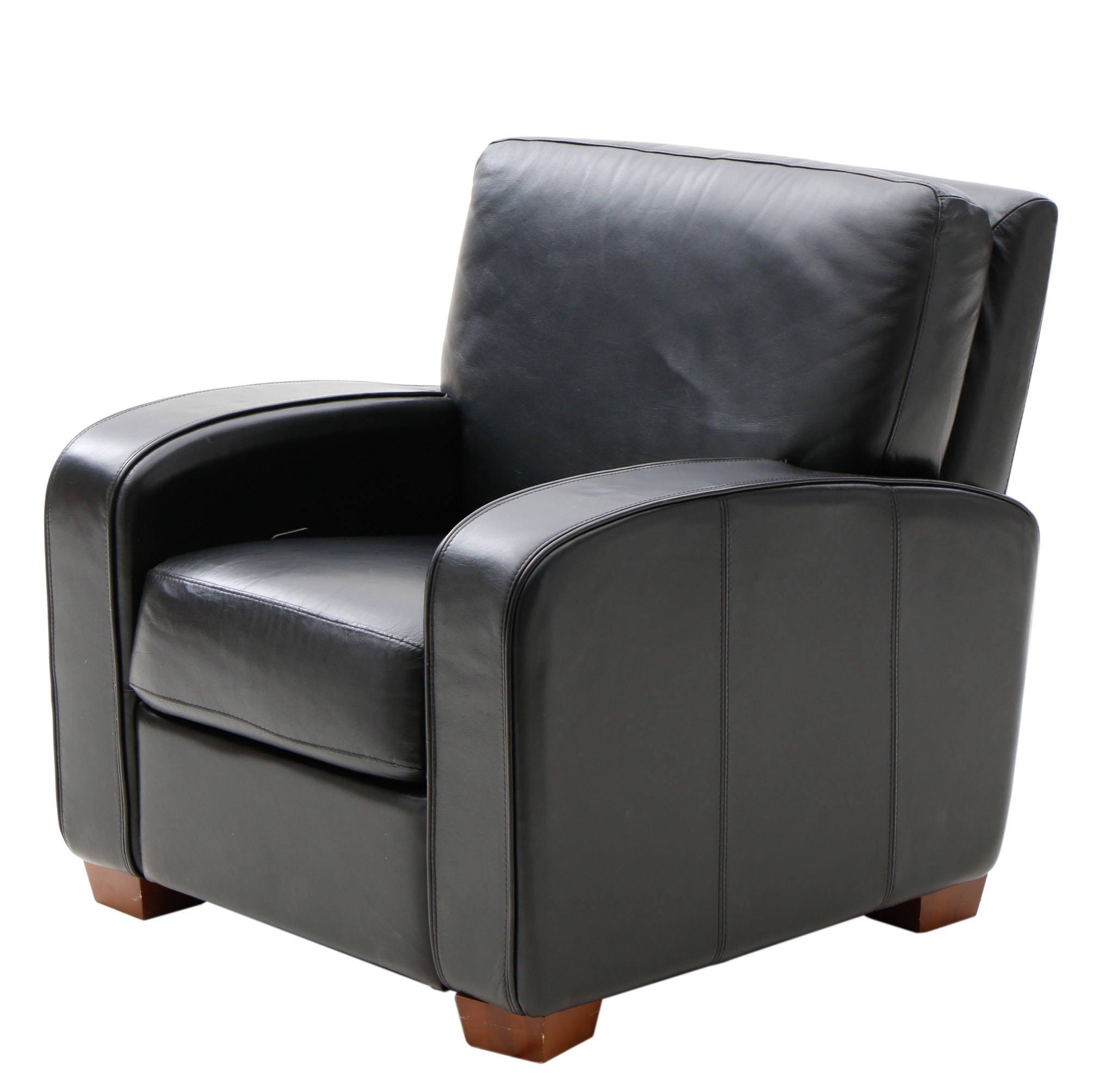Contemporary Black Leather Recliner